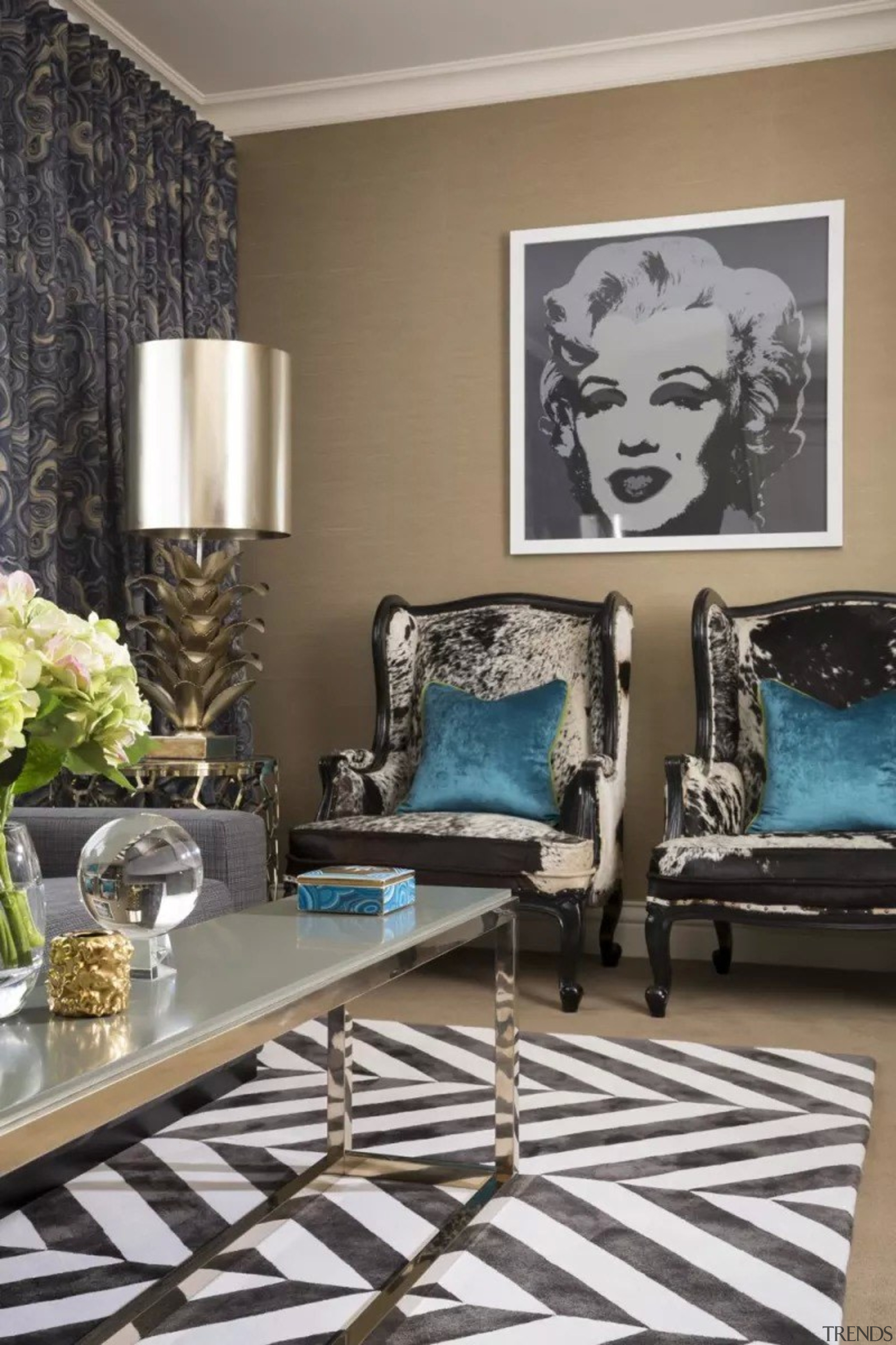 French classic-style residence by Massimo Interiors blue, floor, furniture, home, interior design, living room, paint, room, table, wall, gray, black