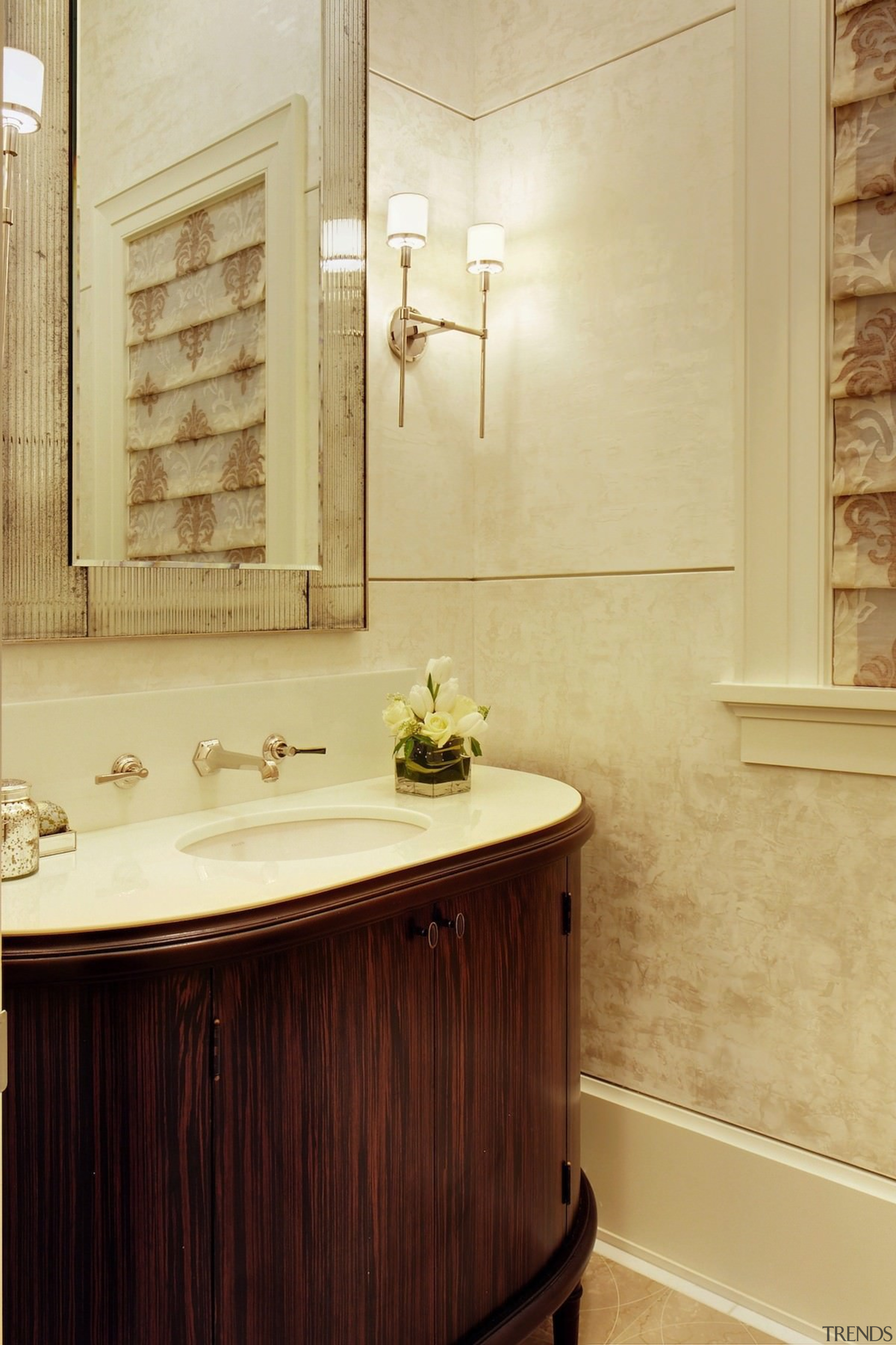 This powder room is like stepping back in bathroom, bathroom accessory, bathroom cabinet, cabinetry, floor, flooring, home, interior design, room, sink, tile, wall, orange