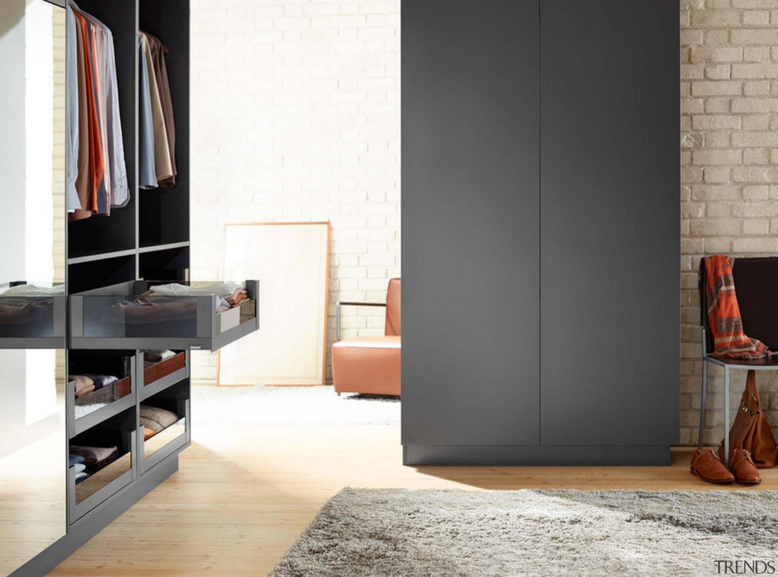Blum's LEGRABOX drawer system makes decluttering a closet, door, floor, furniture, interior design, product design, room, wardrobe, white