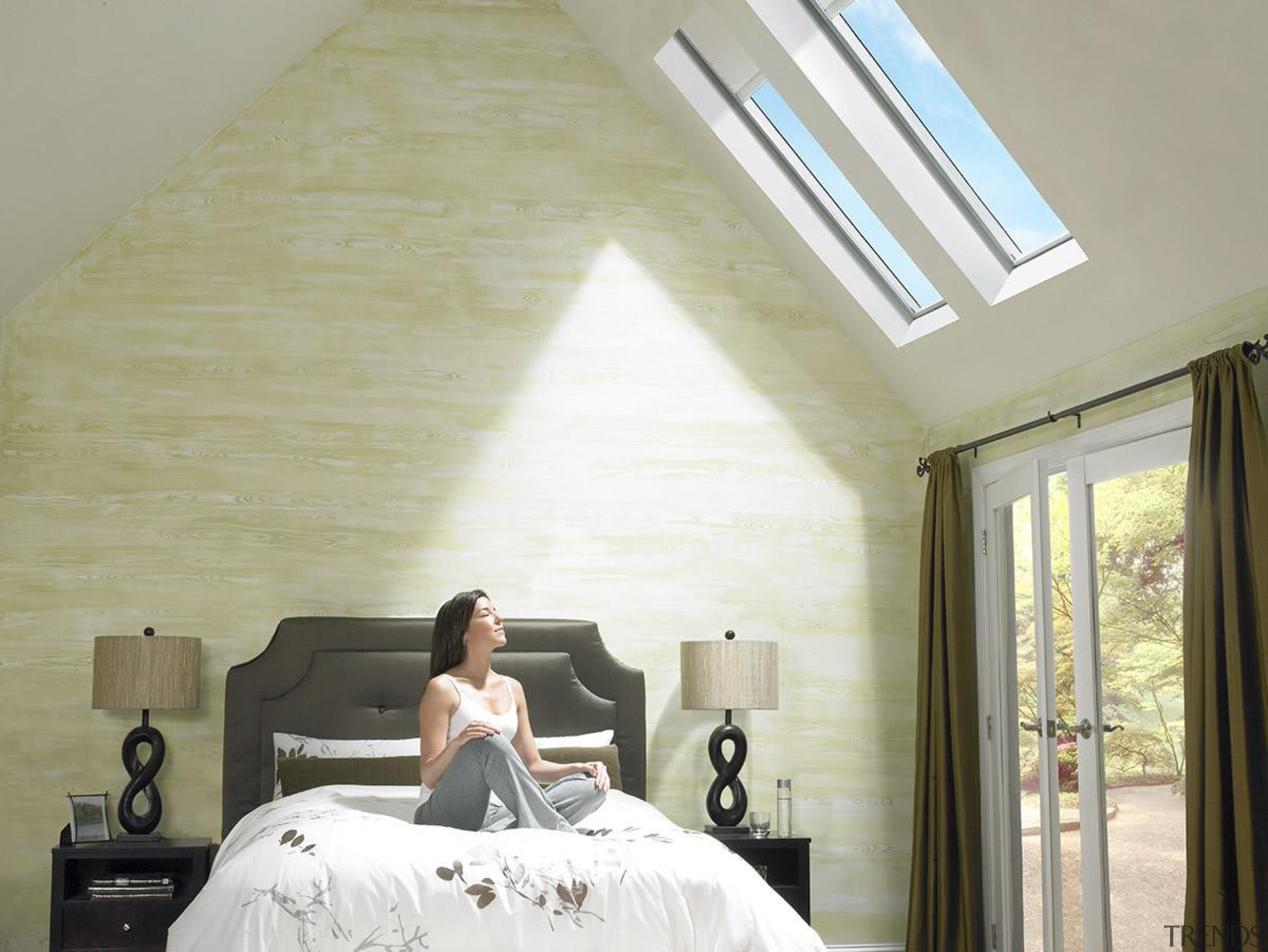 Bringing in natural light and fresh air, skylights bed, bedroom, ceiling, daylighting, floor, furniture, home, house, interior design, lighting, room, wall, window, gray