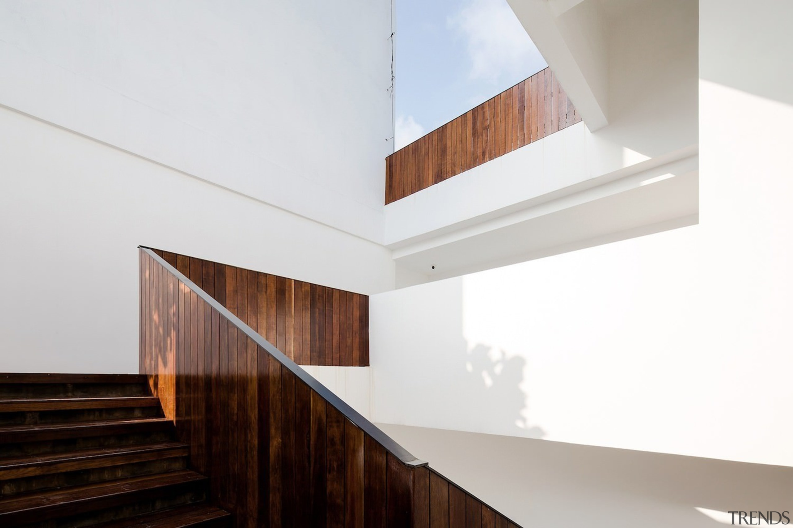 A wood stairway – including the balustrade – architecture, ceiling, daylighting, house, interior design, product design, property, wood, white
