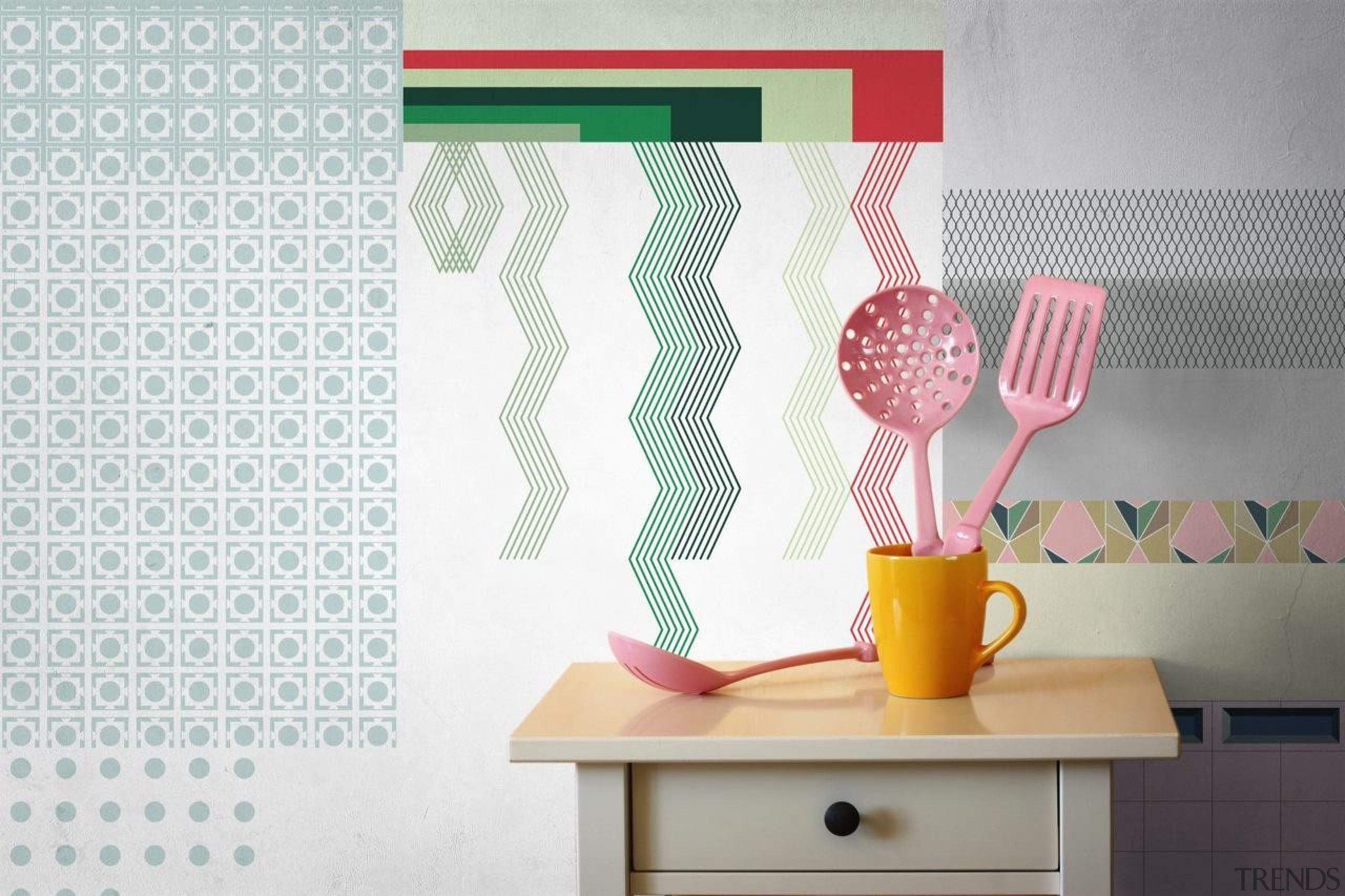 One of the challenges when putting up wallpaper interior design, pink, product design, wall, yellow, white
