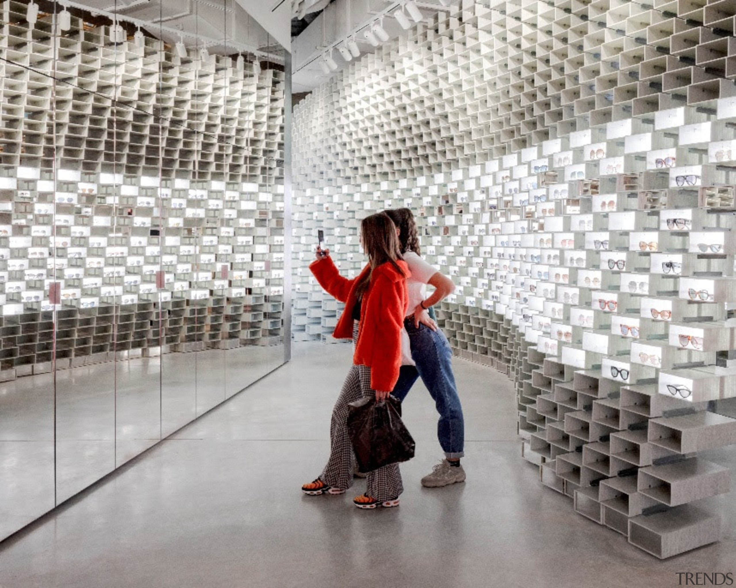 With the advent and omnipresence of online retail, architecture, art, dance, design, floor, flooring, footwear, performance, red, shoe, visual arts, wall, gray