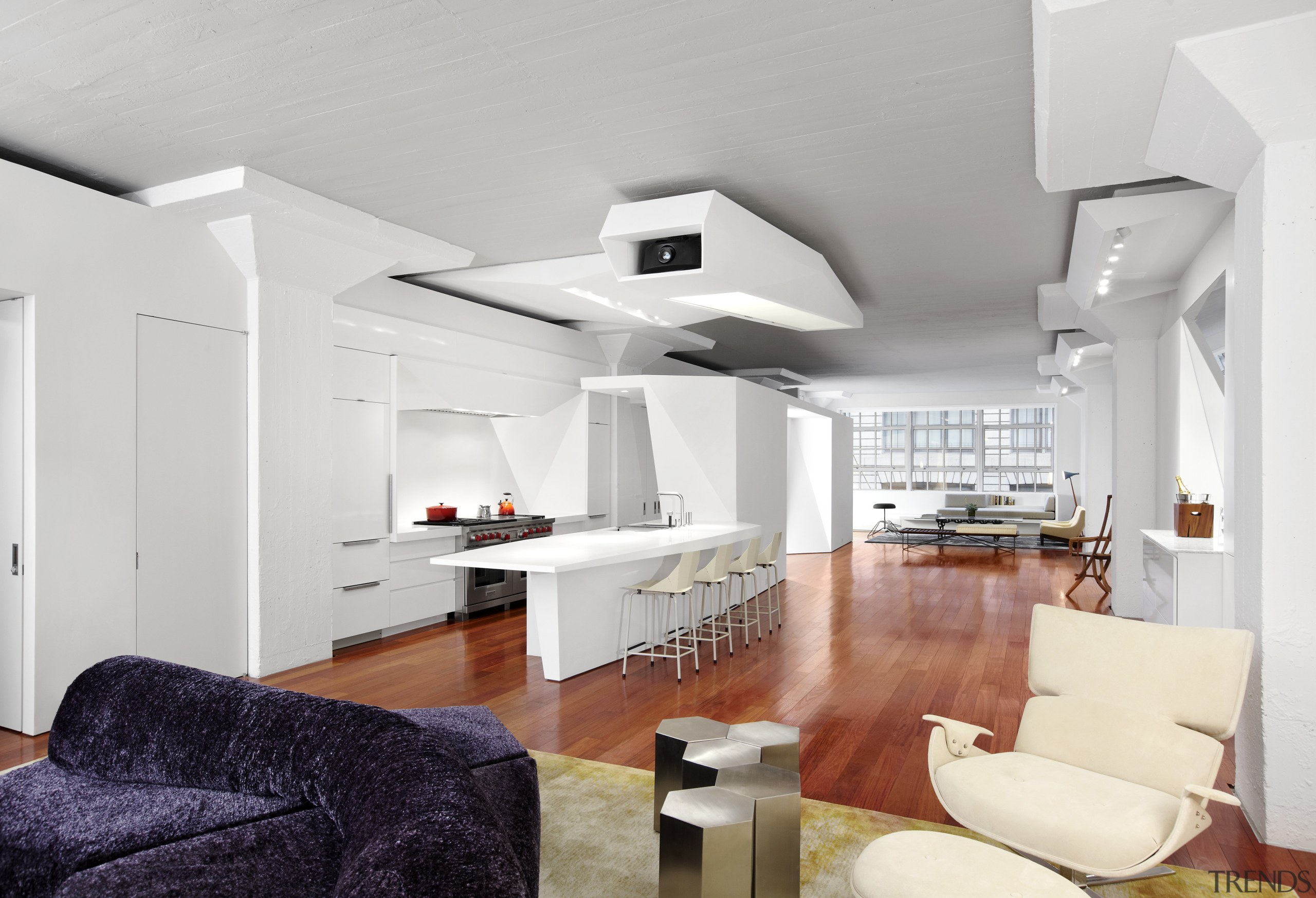 Here is a view of a kitchen designed ceiling, floor, home, interior design, interior designer, living room, room, white