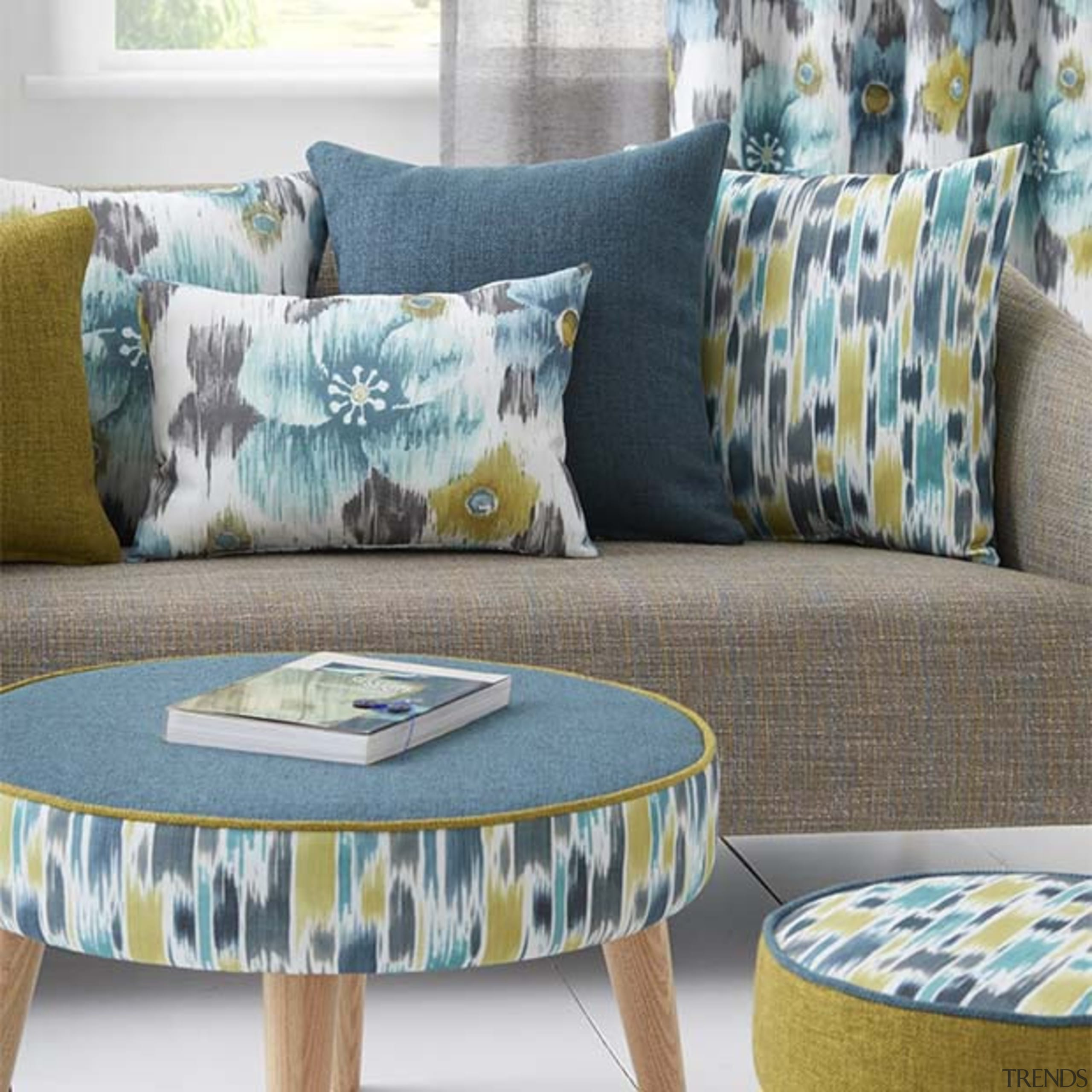 Introducing unique water colour prints in an array chair, coffee table, couch, cushion, furniture, home, interior design, living room, table, textile, gray