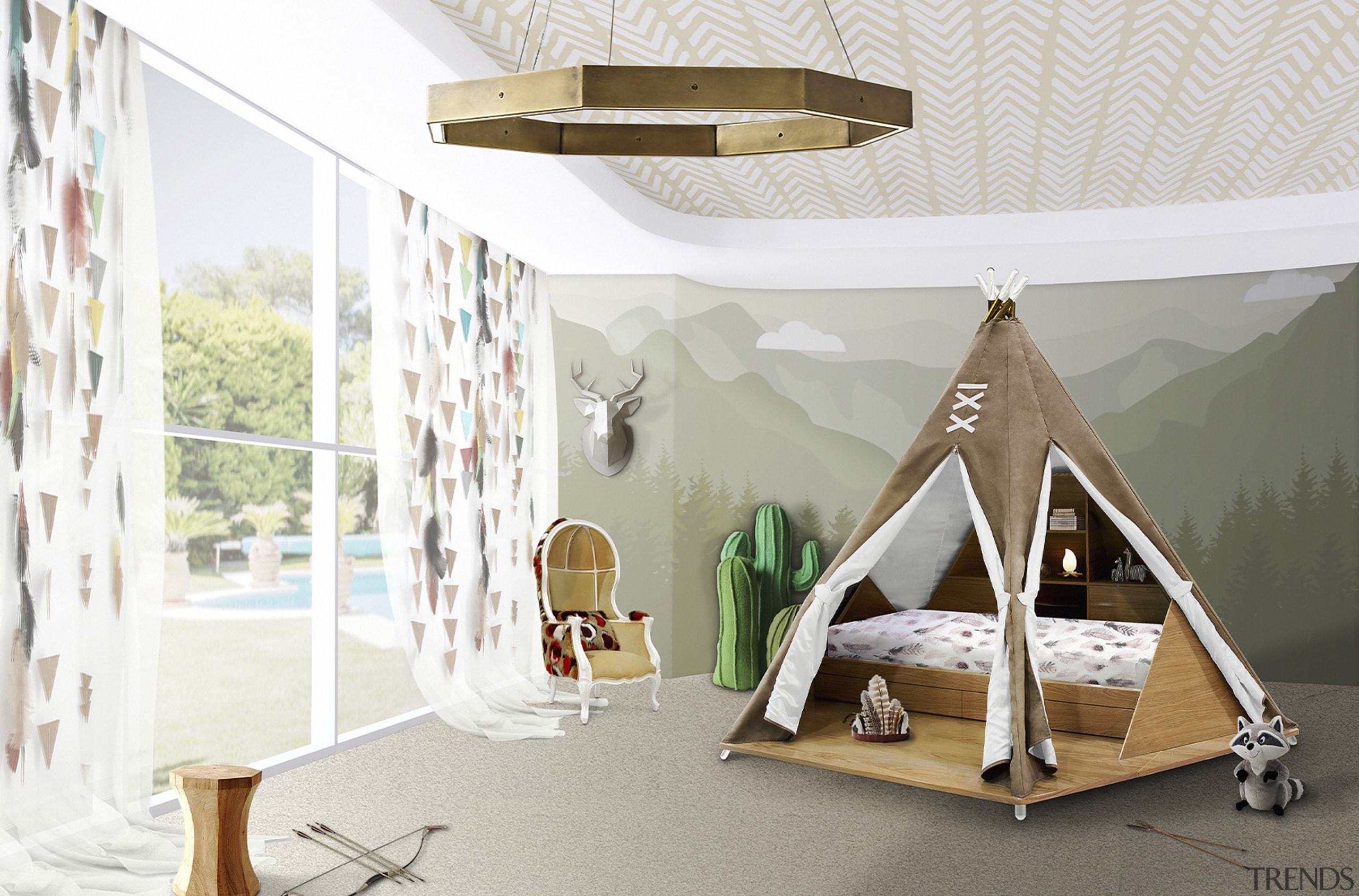 The teepee tent/bed is available from Circa Magical