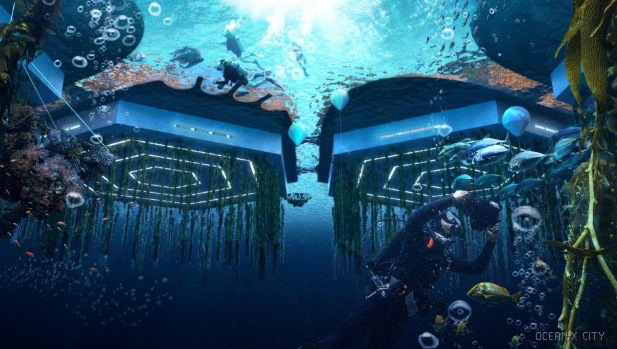 Below sea level, beneath the platforms, biorock floating action-adventure game, cg artwork, digital compositing, illustration, organism, space, underwater, world, blue