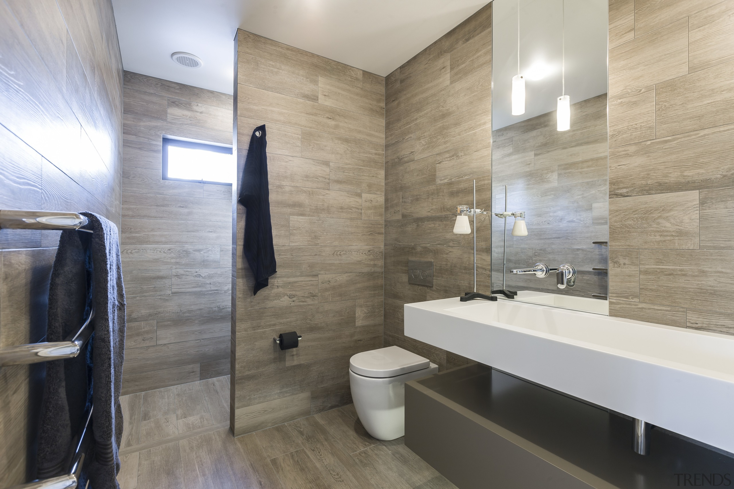Timber plank tiles create an organic, natural feel architecture, bathroom, floor, flooring, home, interior design, property, real estate, room, tile, wall, gray