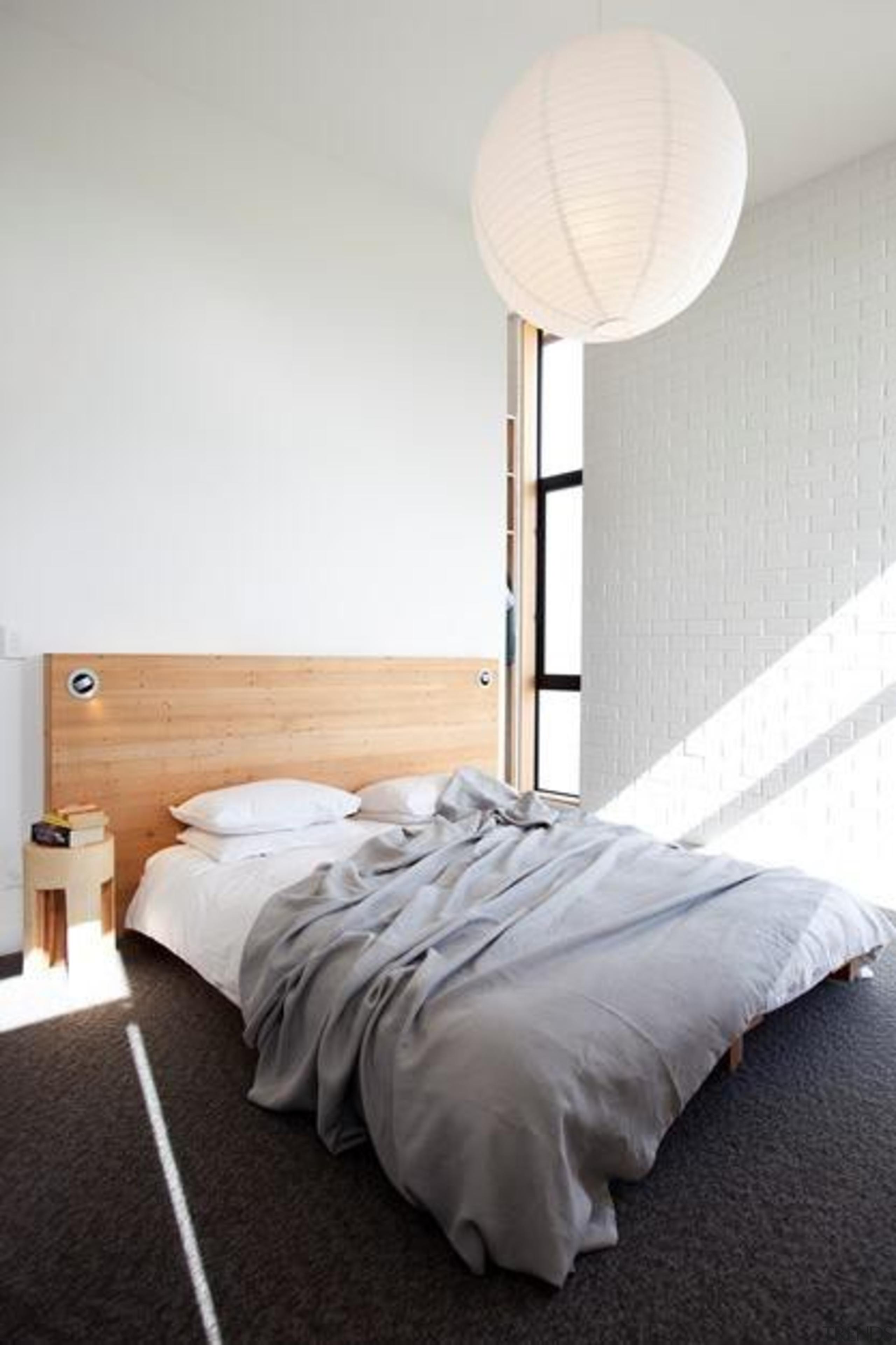master bedroom - master bedroom - bed   bed, bed frame, bedroom, ceiling, floor, flooring, furniture, interior design, light fixture, lighting, mattress, product design, room, wall, wood, white, gray