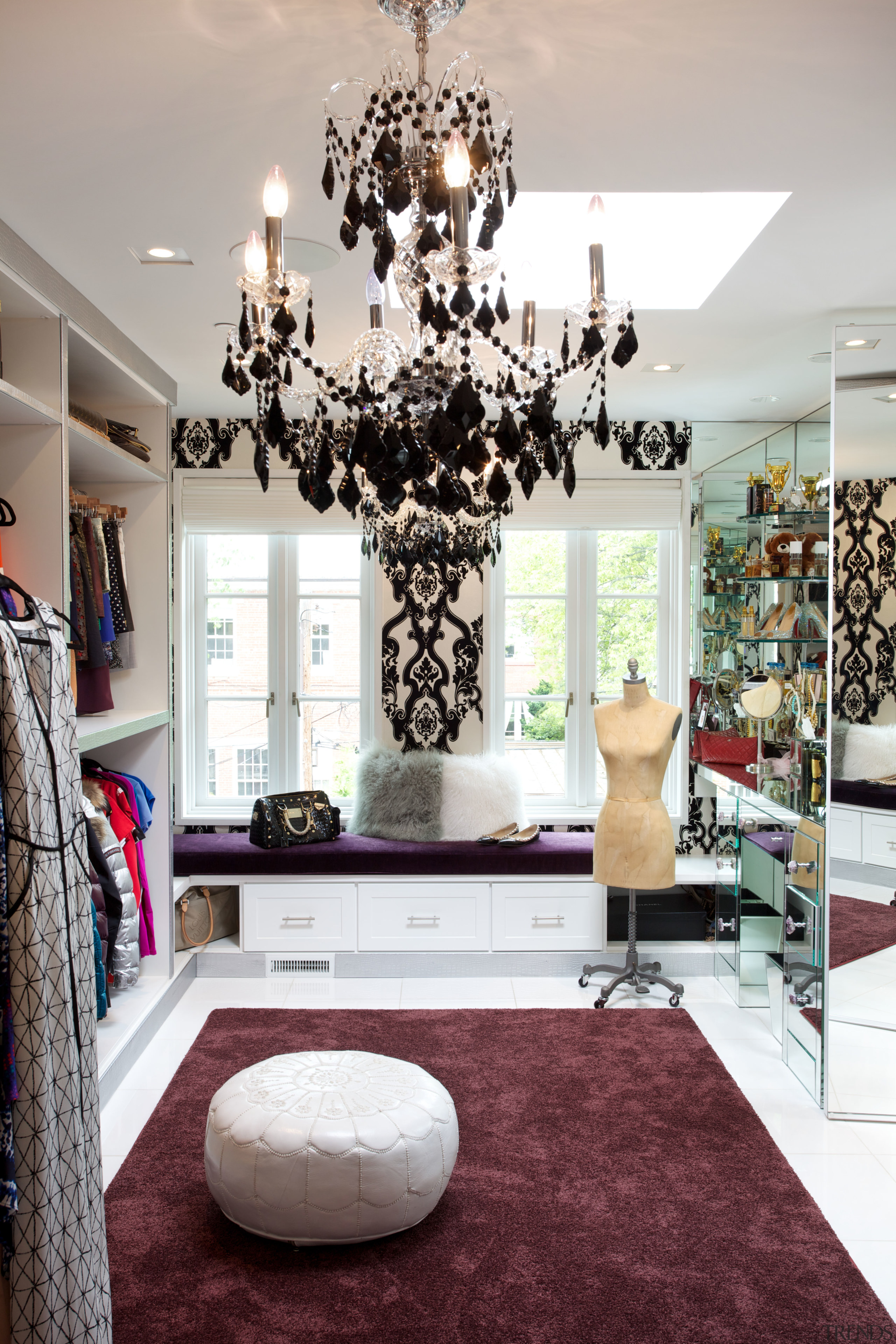 A glamorous dressing room at the other end boutique, home, interior design, living room, room, gray