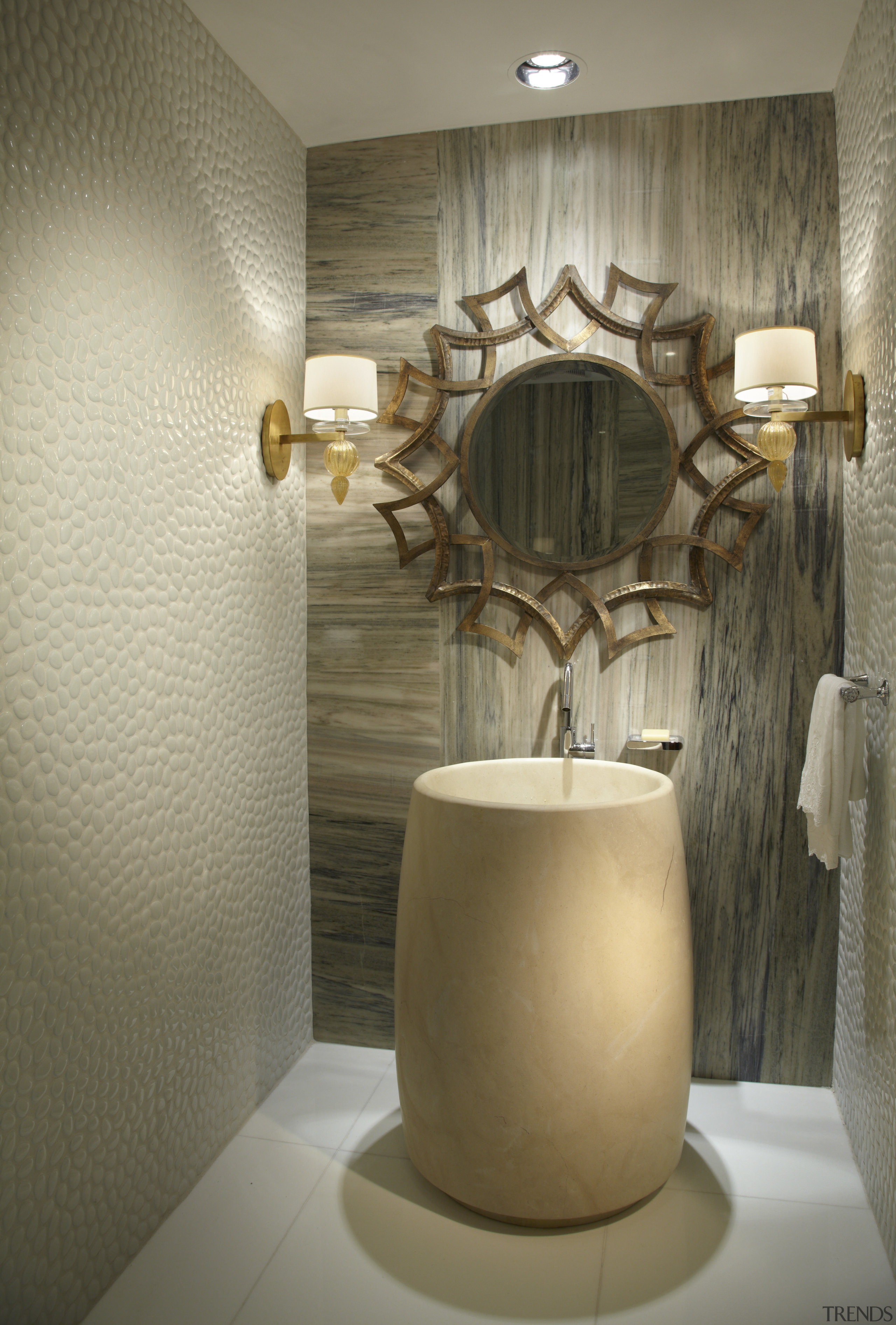 The sculptural basin is the centrepiece of this bathroom, ceiling, ceramic, flooring, interior design, light fixture, product design, room, wall, brown, gray