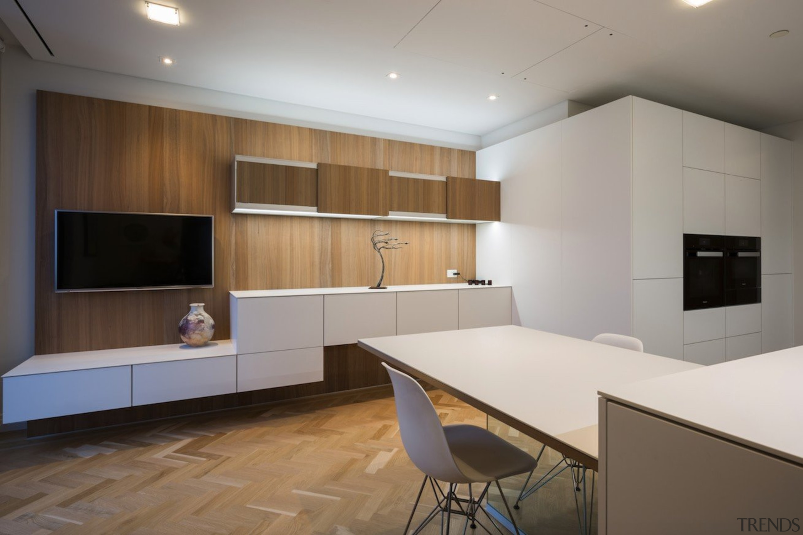 Highly Commended in the Category Imported Kitchen - architecture, cabinetry, ceiling, floor, flooring, interior design, kitchen, real estate, room, wood flooring, gray