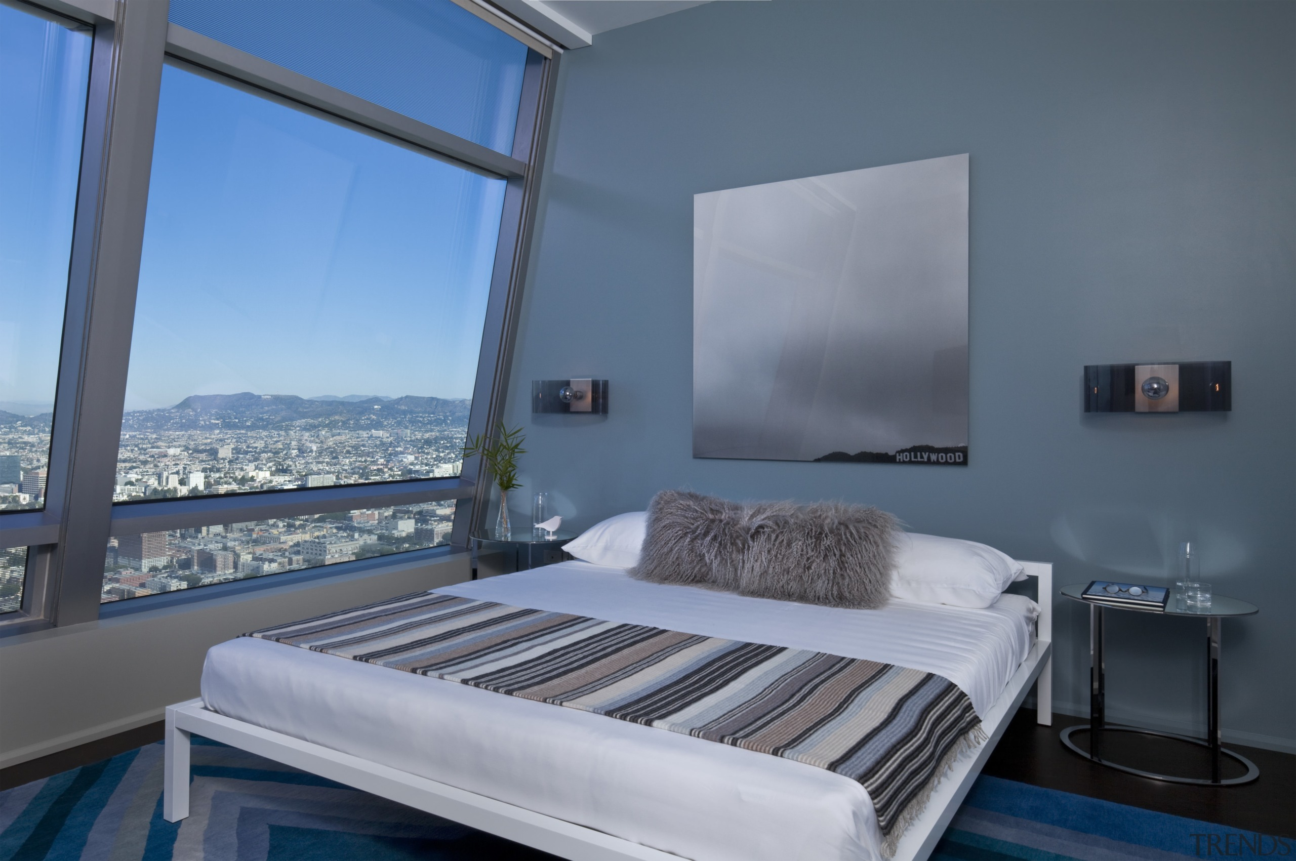 Artwork featuring the Hollywood Hills and sign echoes bed, bed frame, bedroom, daylighting, interior design, mattress, real estate, room, suite, window, teal, gray