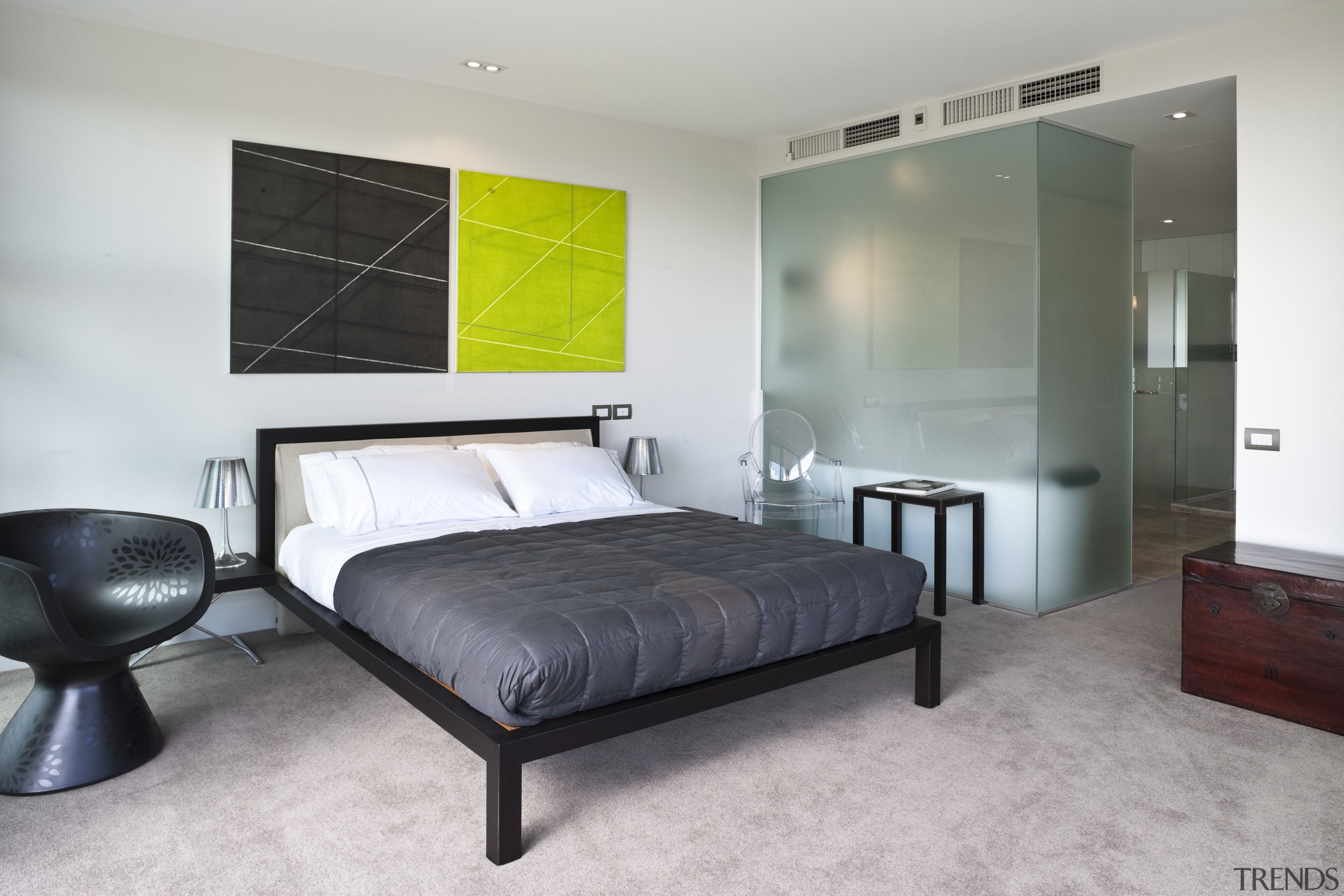 The bedroom and bathroom in the master suite bed frame, bedroom, floor, interior design, real estate, room, wall, gray