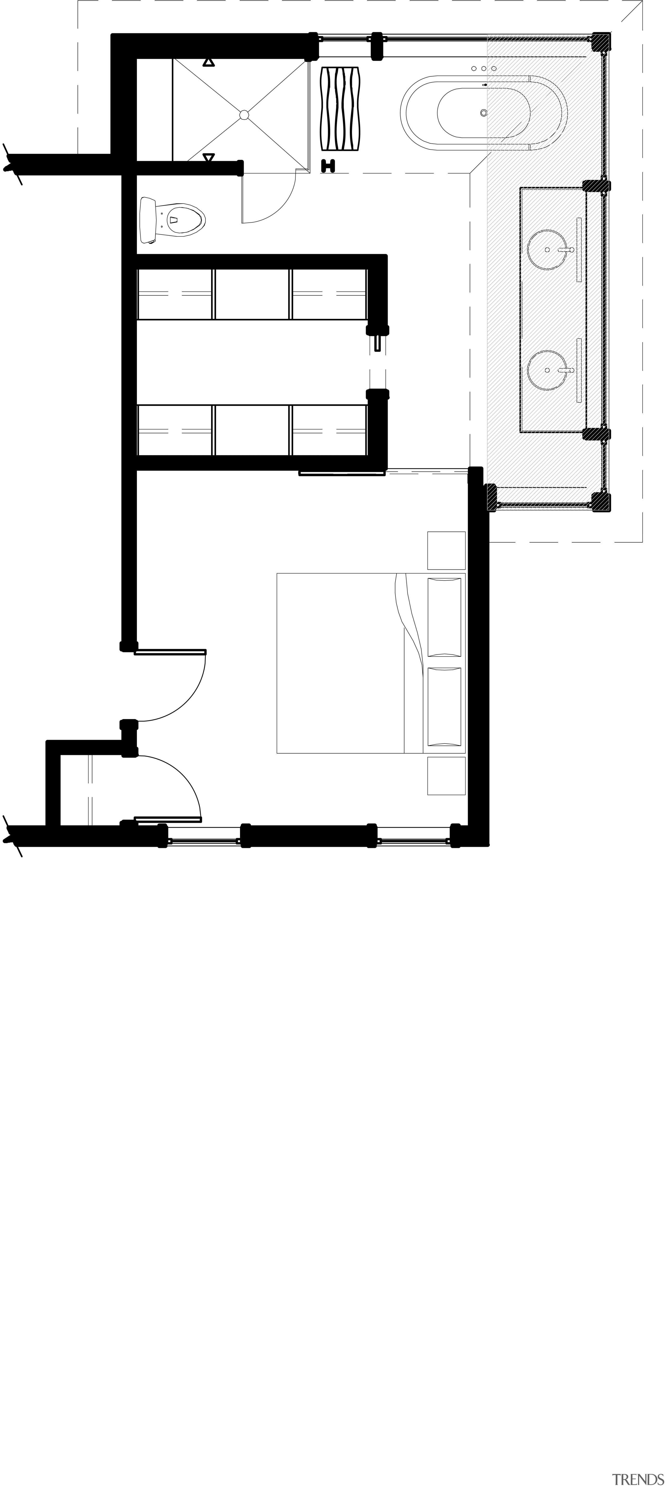This home and kitchen was designed by Finne angle, area, black and white, design, diagram, drawing, floor plan, font, furniture, line, product, product design, square, text, white
