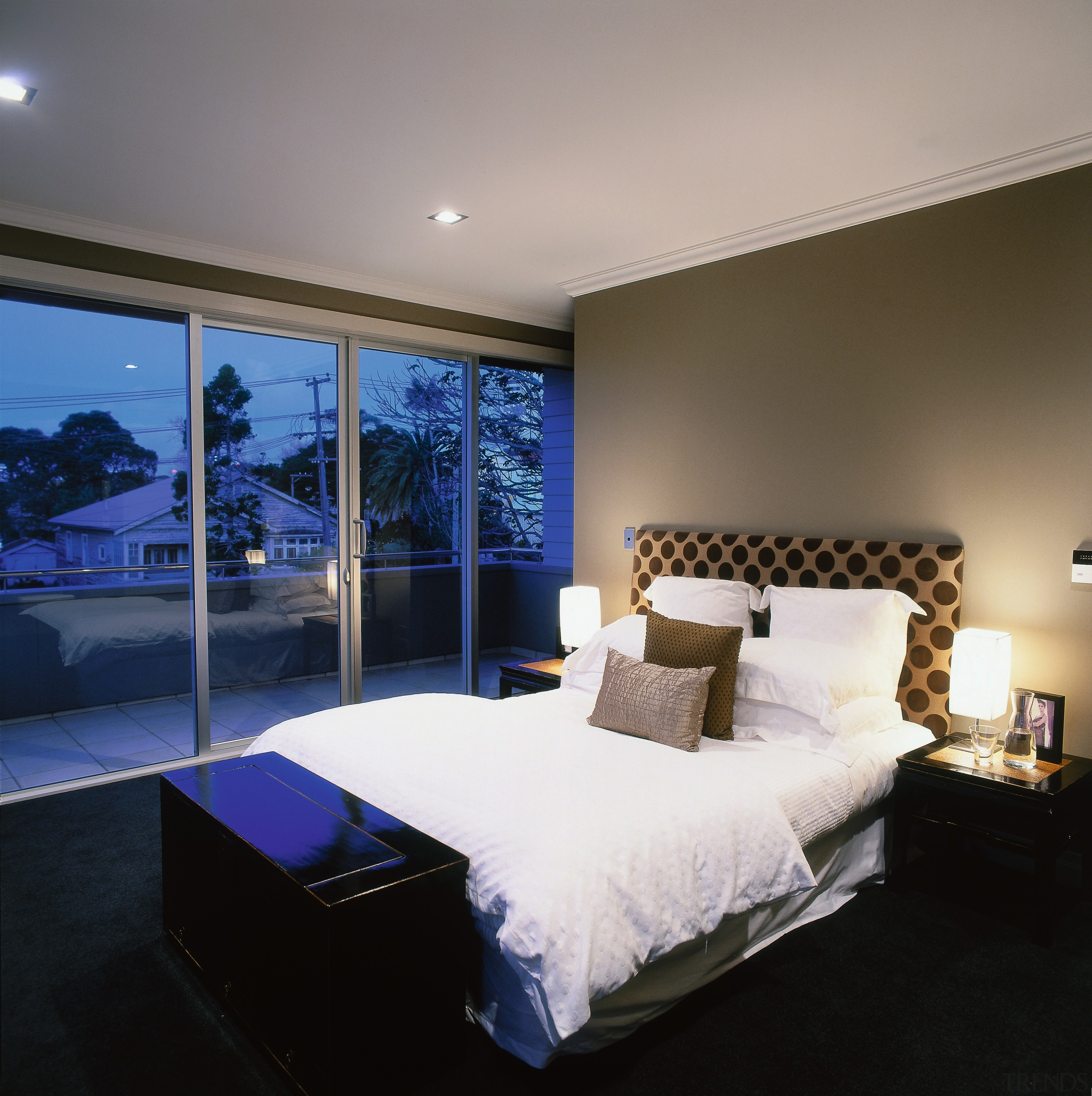 View of the bedroom - View of the architecture, bed frame, bedroom, ceiling, home, interior design, lighting, mattress, property, real estate, room, suite, wall, gray, black
