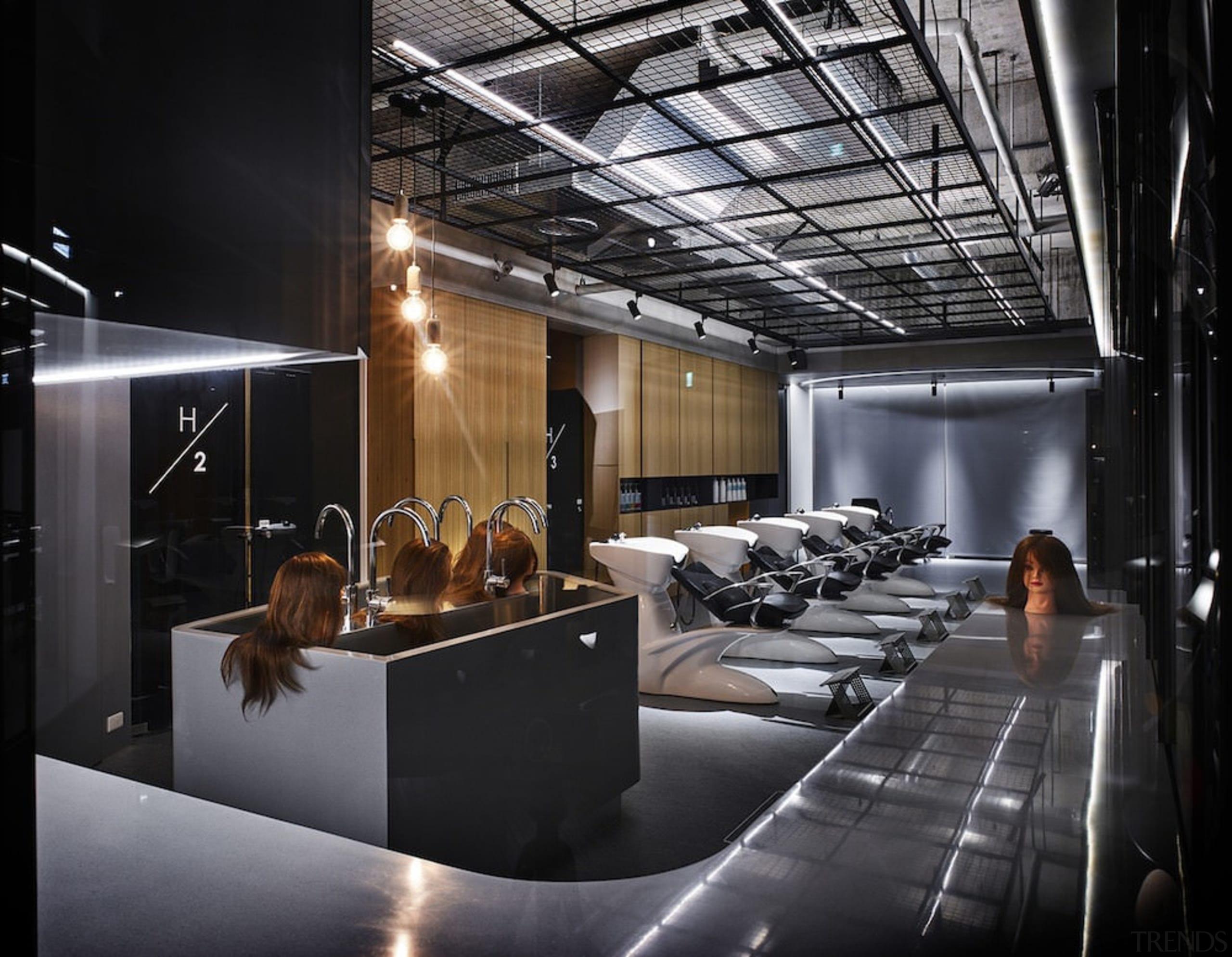 H Academy – Shi-Chieh Lu/CJ Studio - H ceiling, interior design, lobby, black, gray