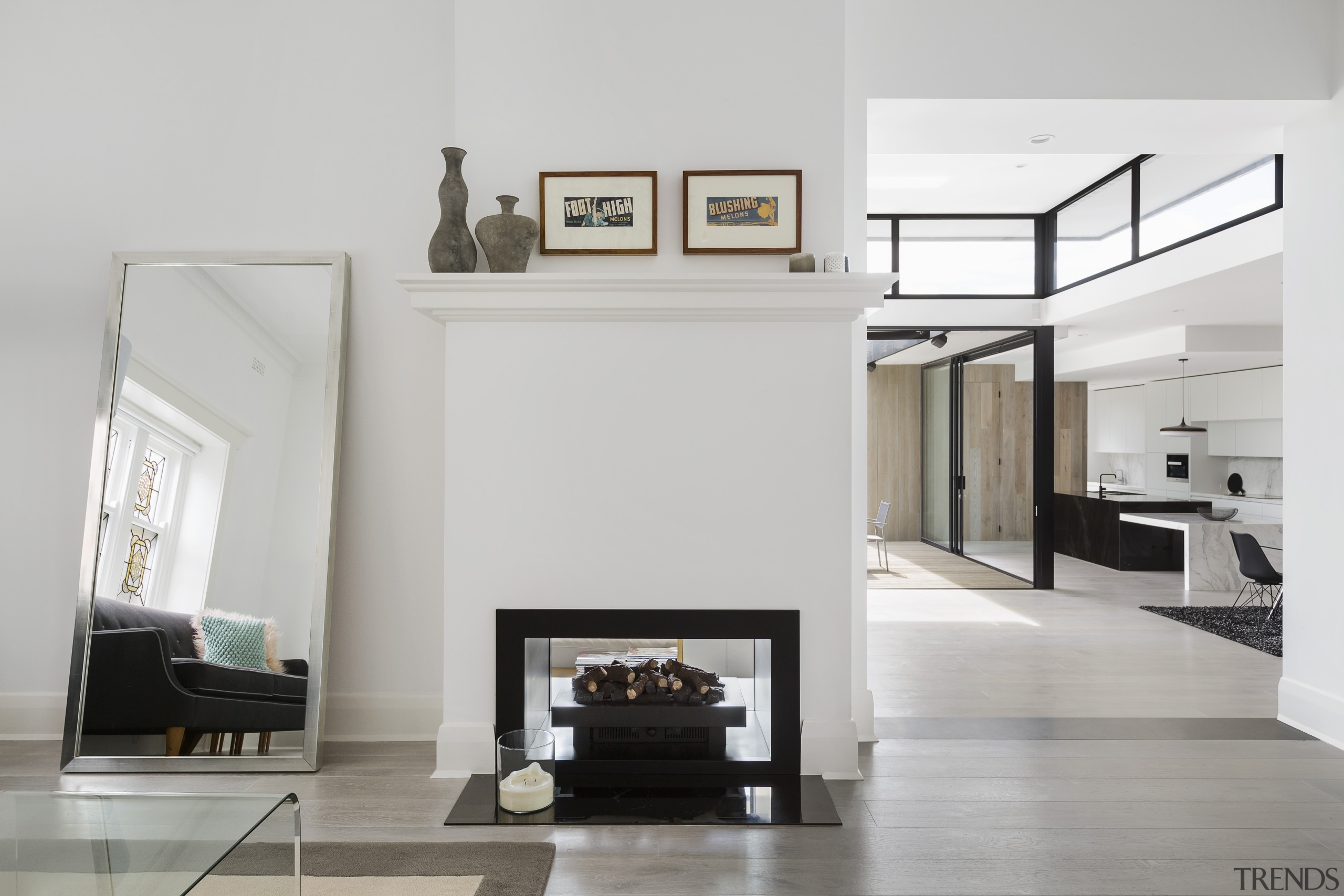 ​​​​​​​This view is from the existing part of home appliancfireplace, floor, flooring, timber, furniture, hearth, living room, family room, LSA Architects