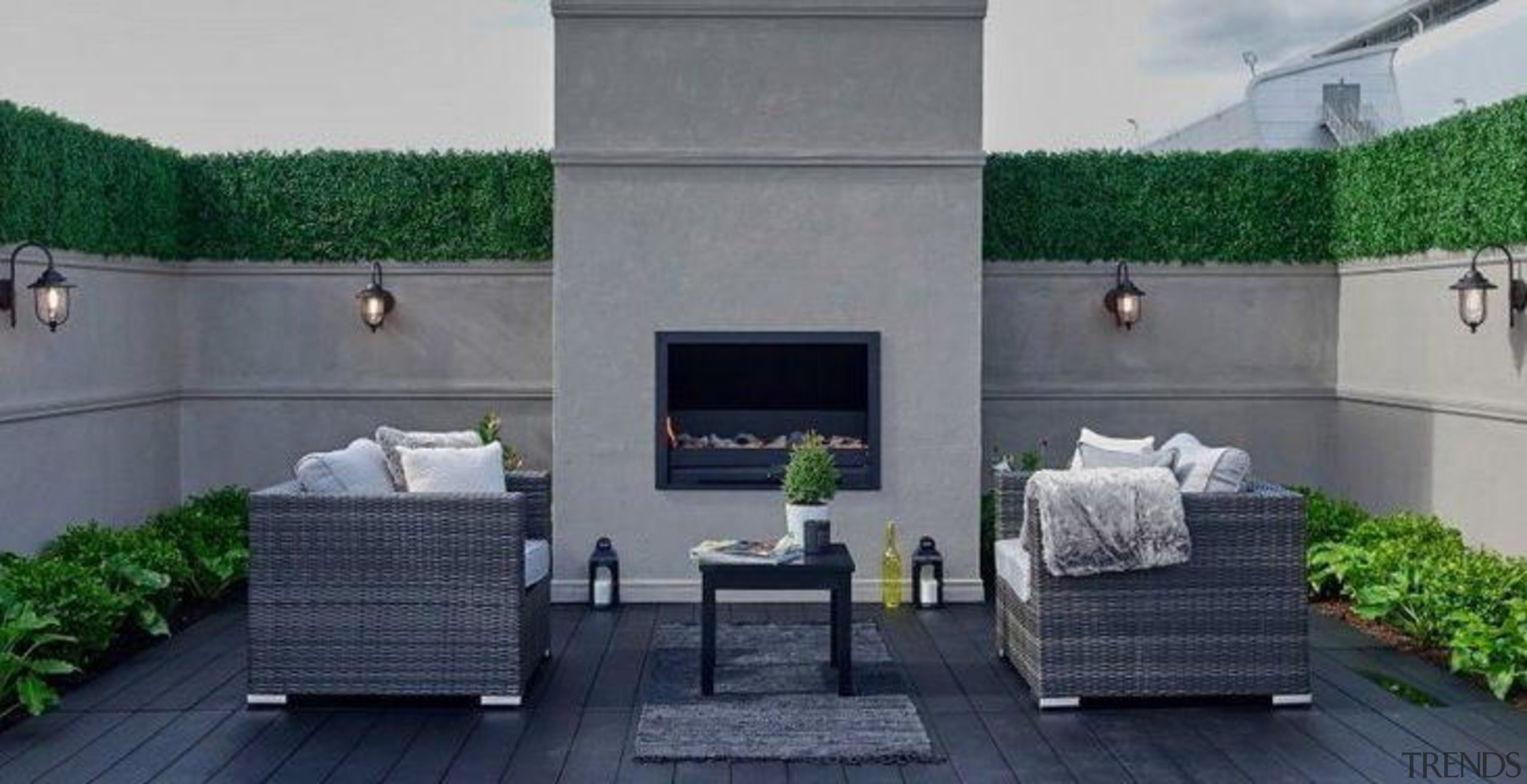 Your outdoor space should in all ways, look building, coffee table, floor, furniture, home, house, interior design, living room, property, room, table, wall, wicker, gray