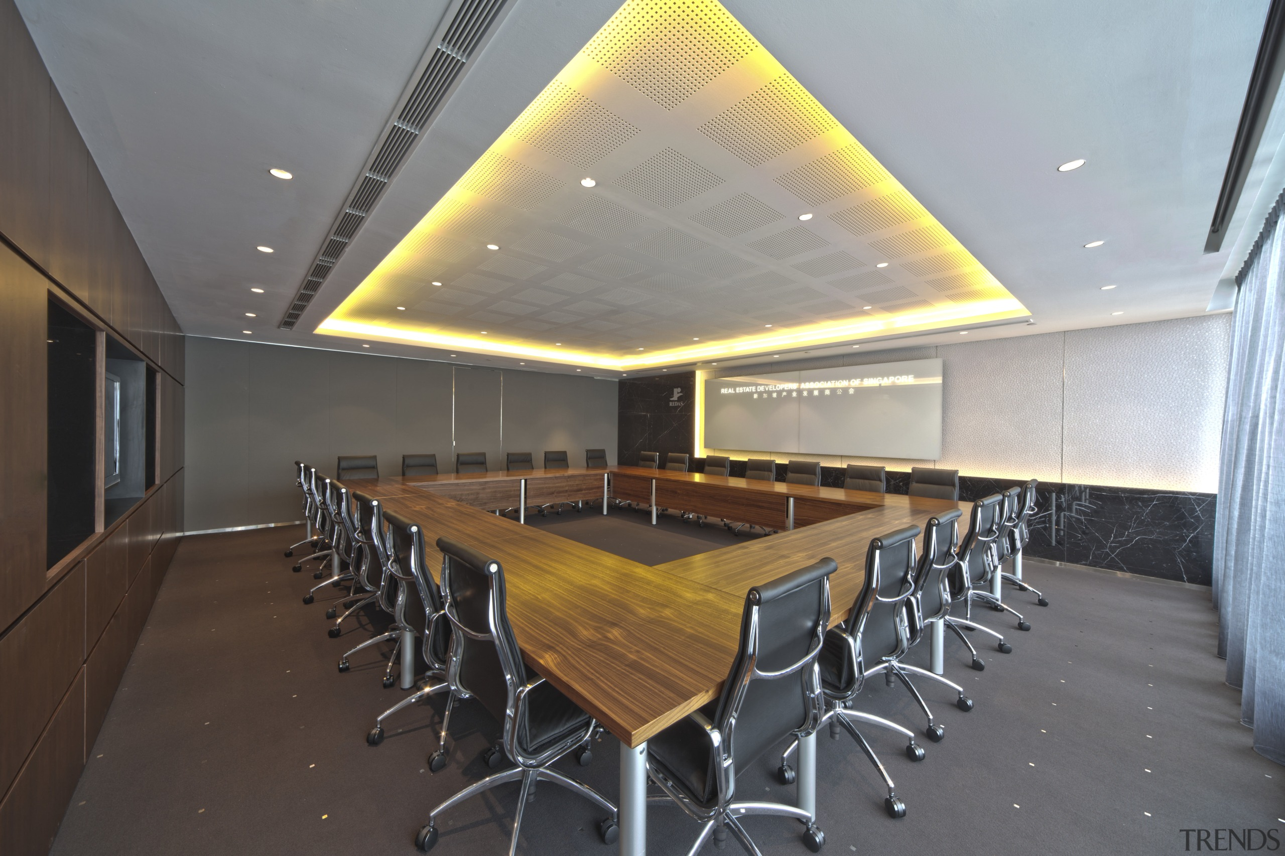 Contemporary offices of  the Real Estate Developer's architecture, auditorium, ceiling, conference hall, interior design, real estate, table, gray, black