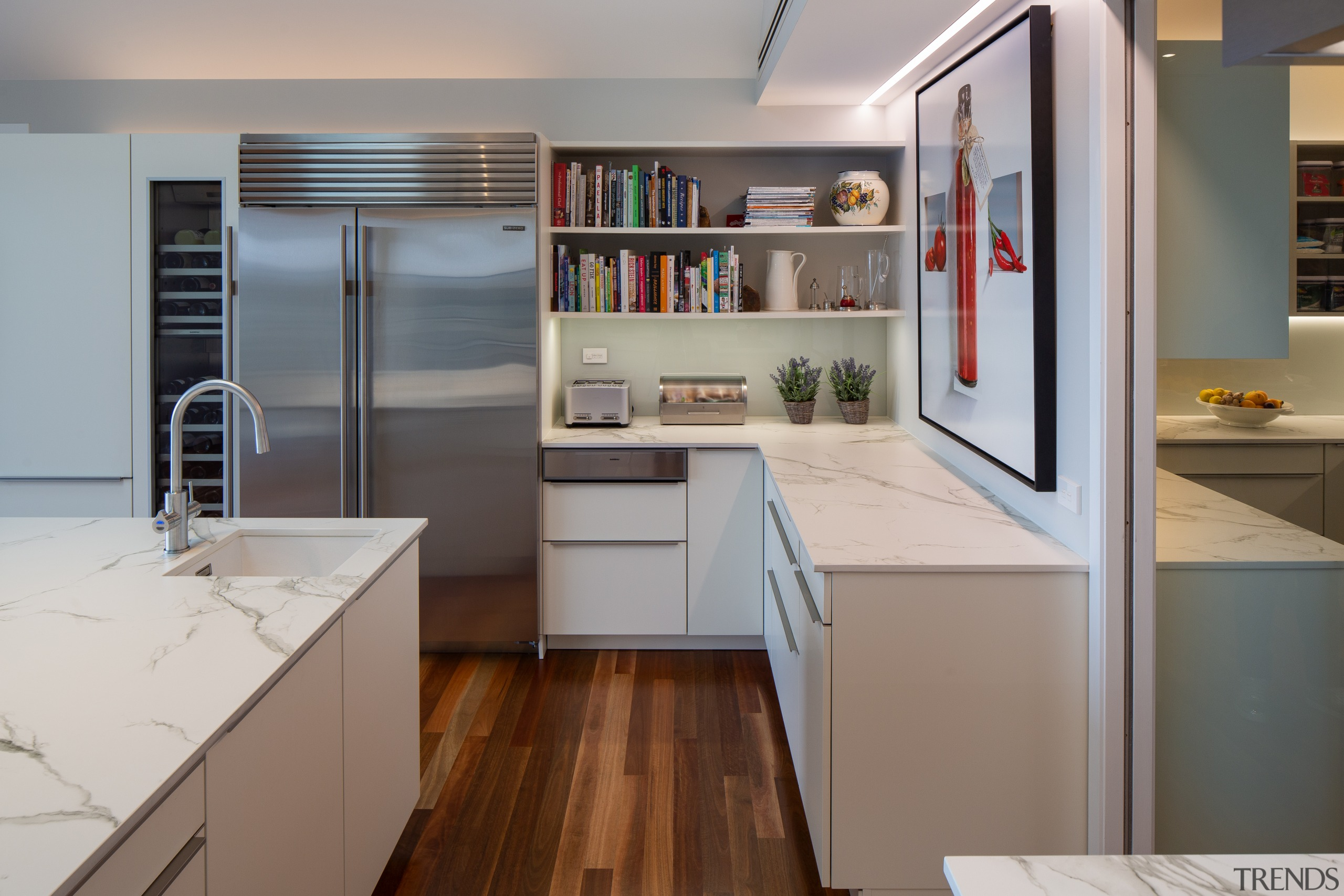 This new kitchen by German Kitchens offers plenty architecture, building, cabinetry, ceiling, countertop, cupboard, floor, flooring, furniture, home, house, interior design, kitchen, material property, plywood, property, real estate, room, shelf, shelving, wood flooring, gray