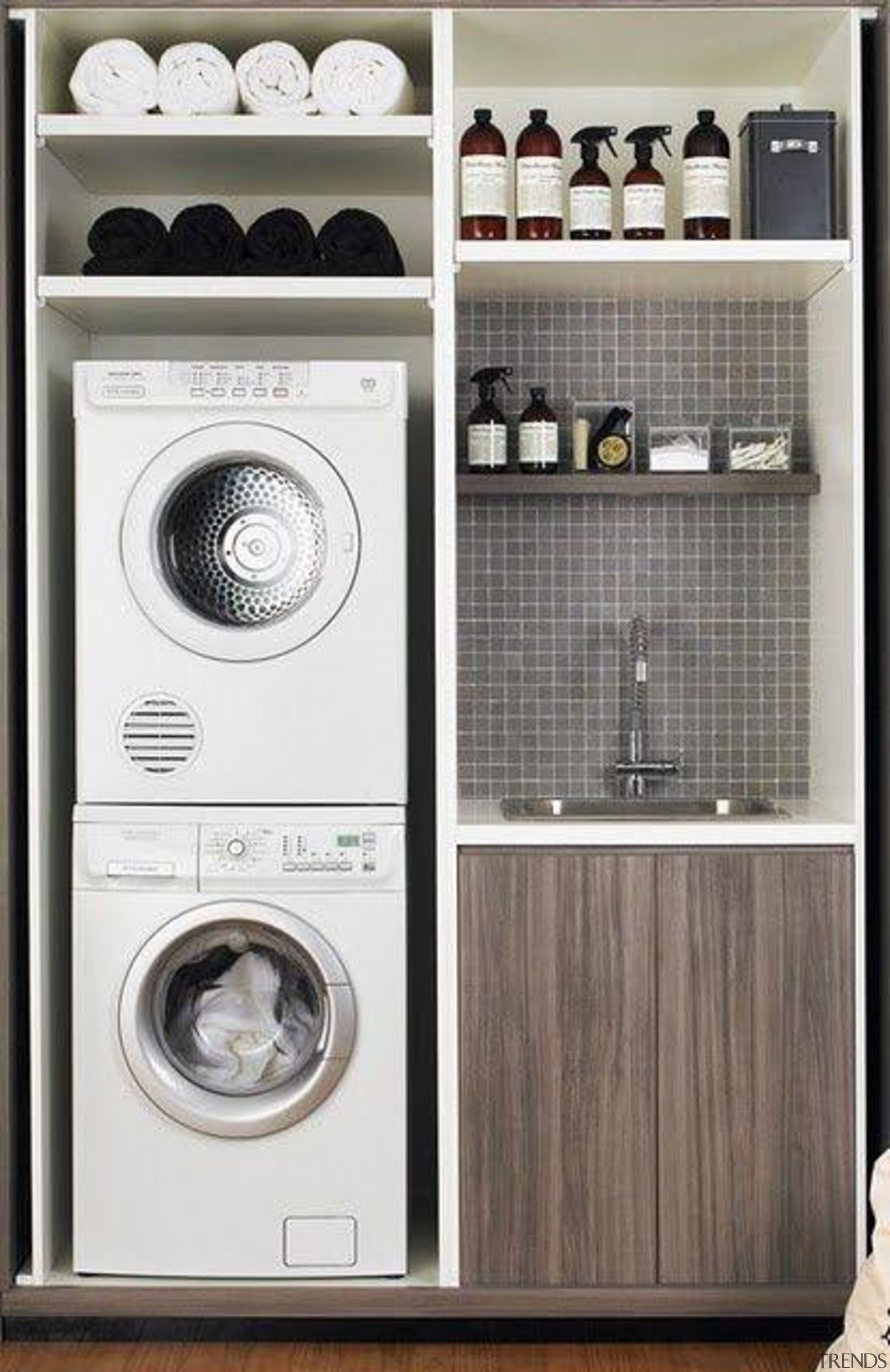 Utilitarian spaces such as laundry rooms and mudrooms clothes dryer, furniture, home appliance, laundry, laundry room, major appliance, product, washing machine, white, gray