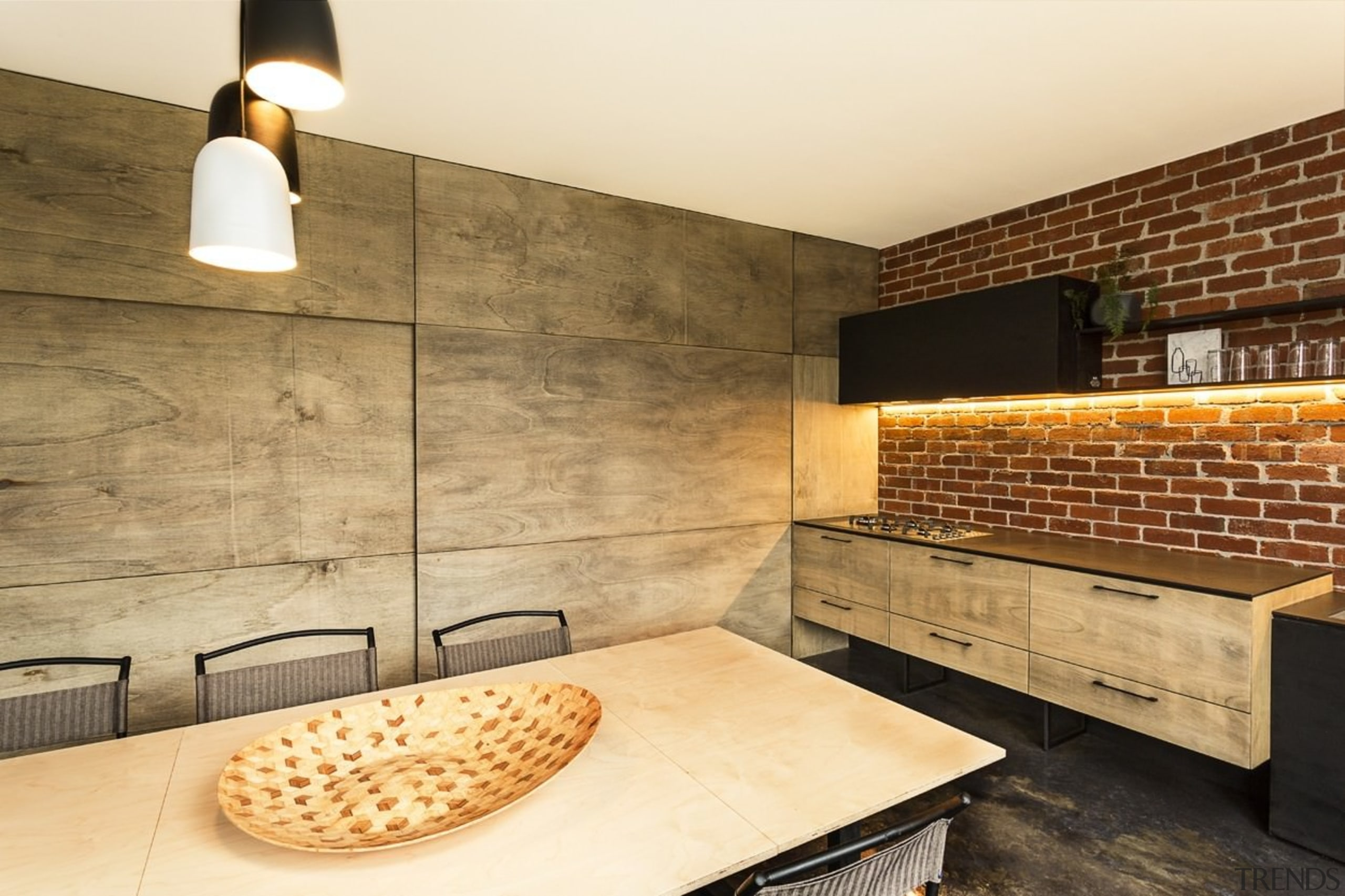 Pushing the kitchen up against the wall means countertop, floor, flooring, interior design, tile, wall, orange, brown