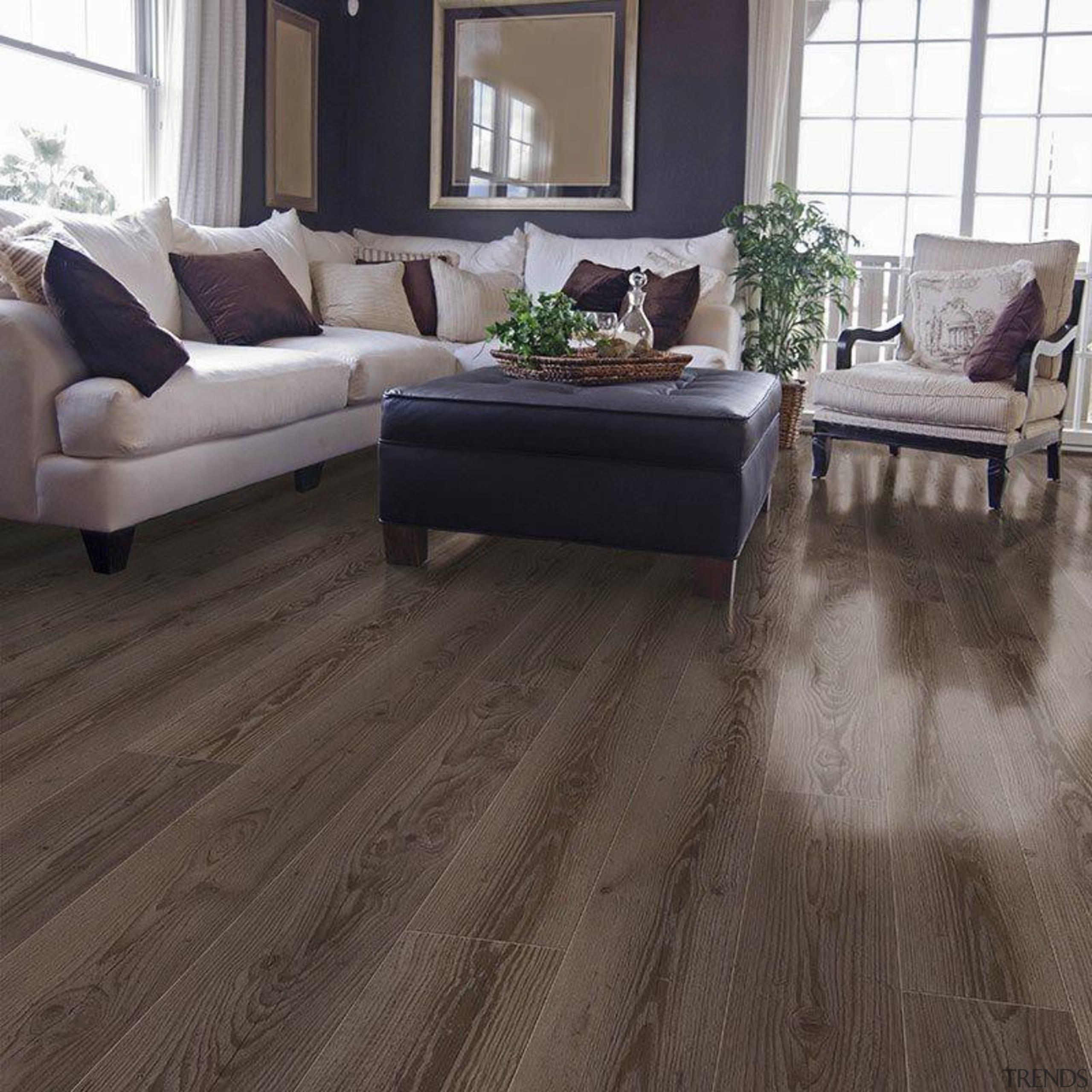 """Neo by Classen"" introduces a new generation floor, flooring, hardwood, home, interior design, laminate flooring, living room, tile, wood, wood flooring, gray, black"