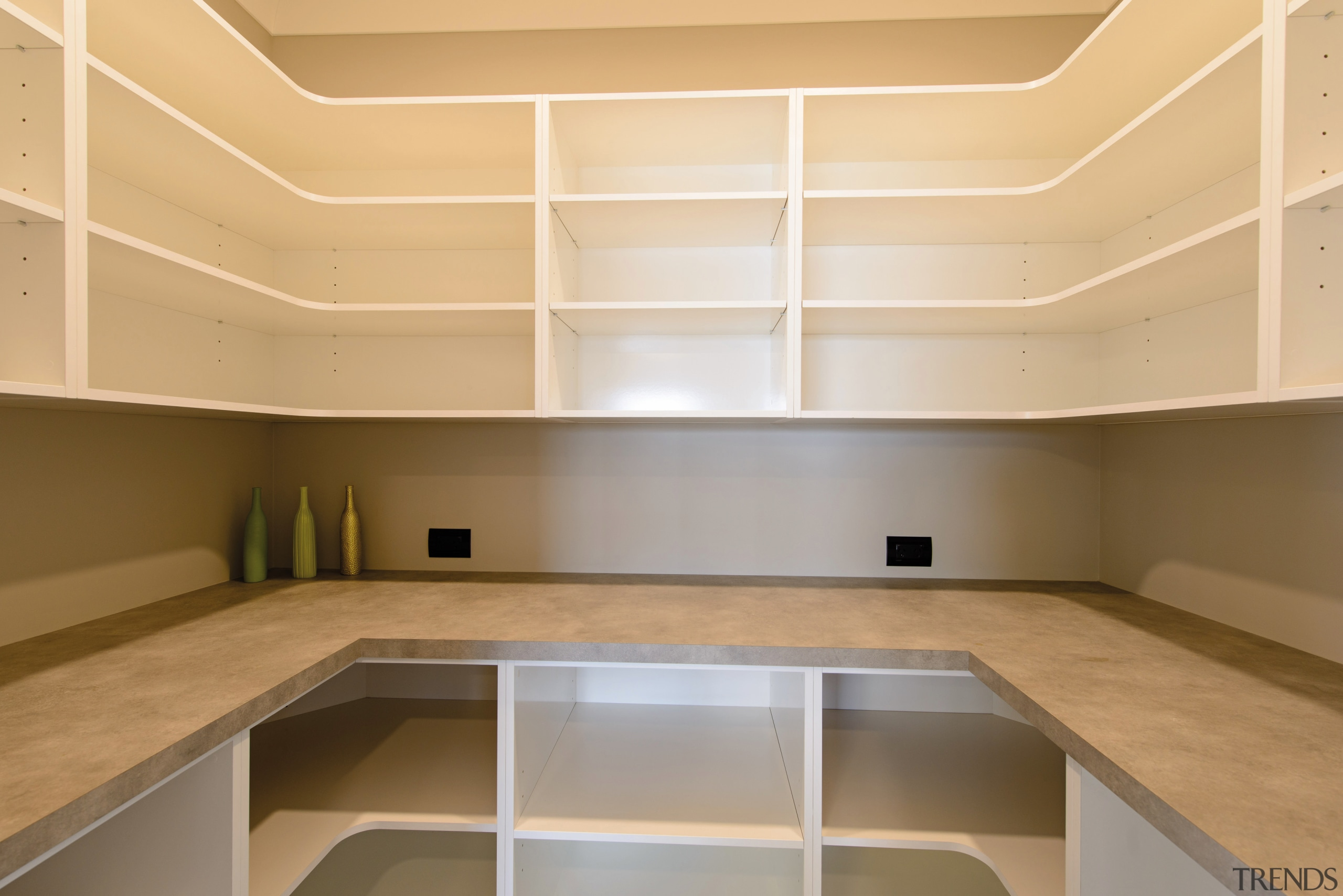Walk in pantry - Walk in pantry - architecture, cabinetry, ceiling, countertop, daylighting, floor, interior design, kitchen, lighting, product design, real estate, orange, brown