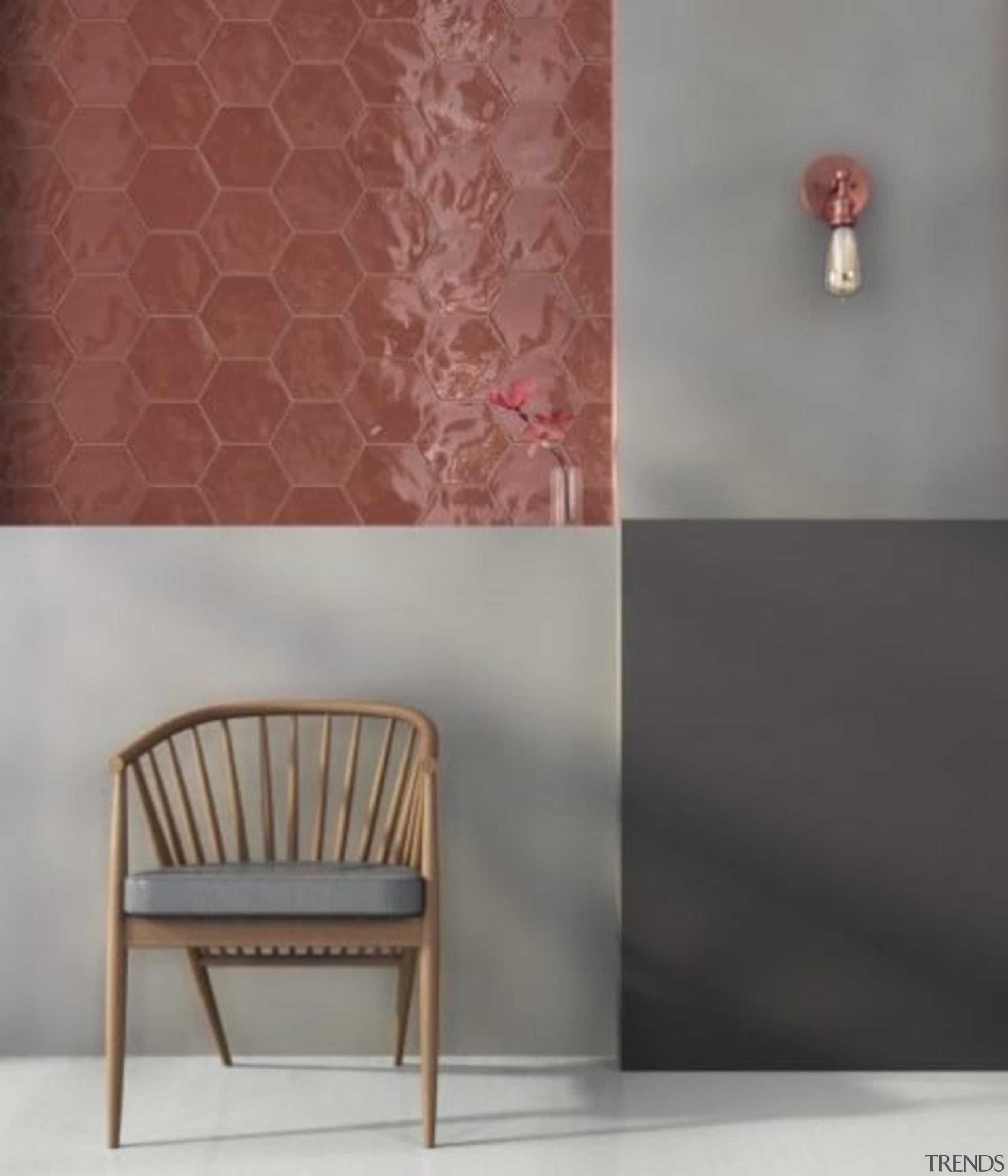 Hexa Wall Cherry Pie Gloss 173x150 - Hexa floor, furniture, interior design, product, wall, gray, red