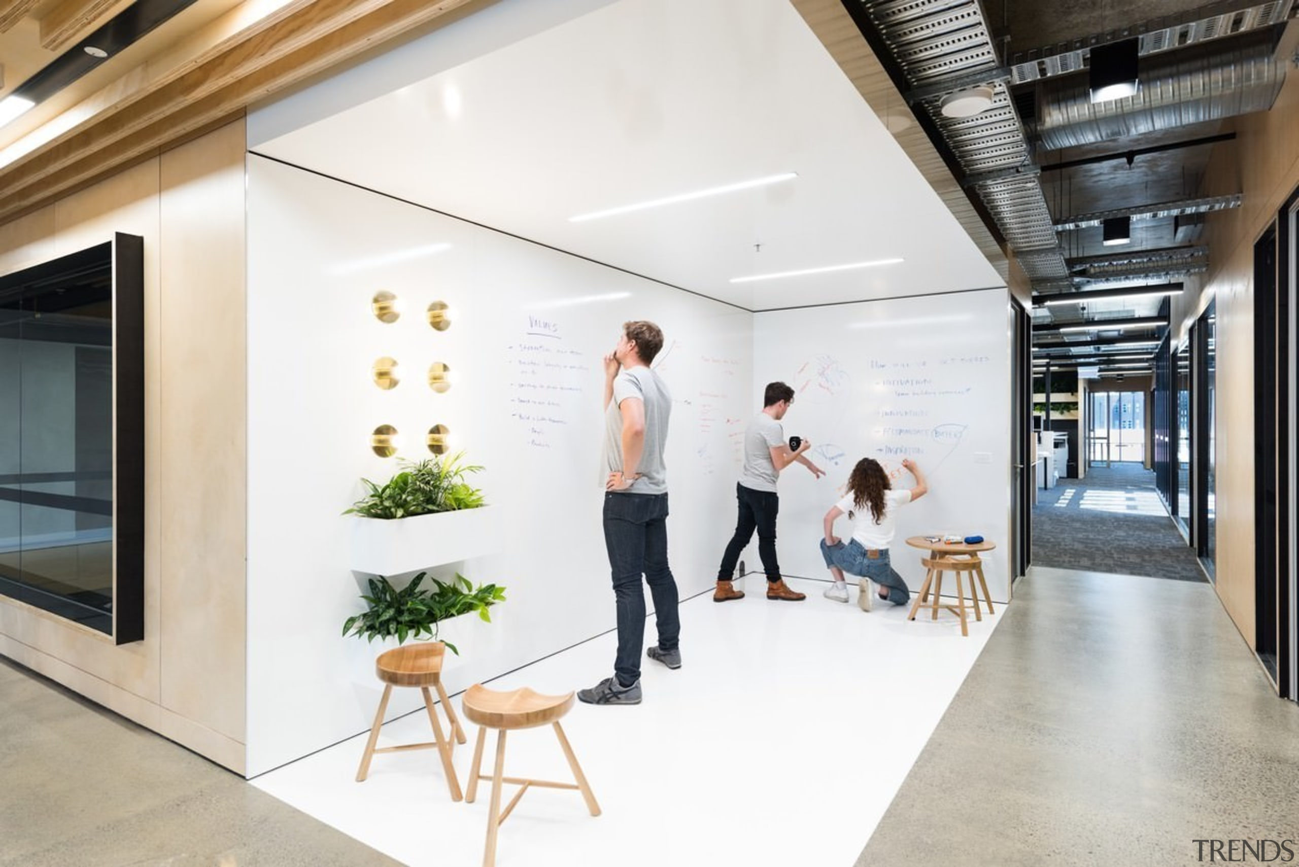 Designed by: Siren Design GroupPhotography by Cheyne ceiling, floor, interior design, lobby, office, white