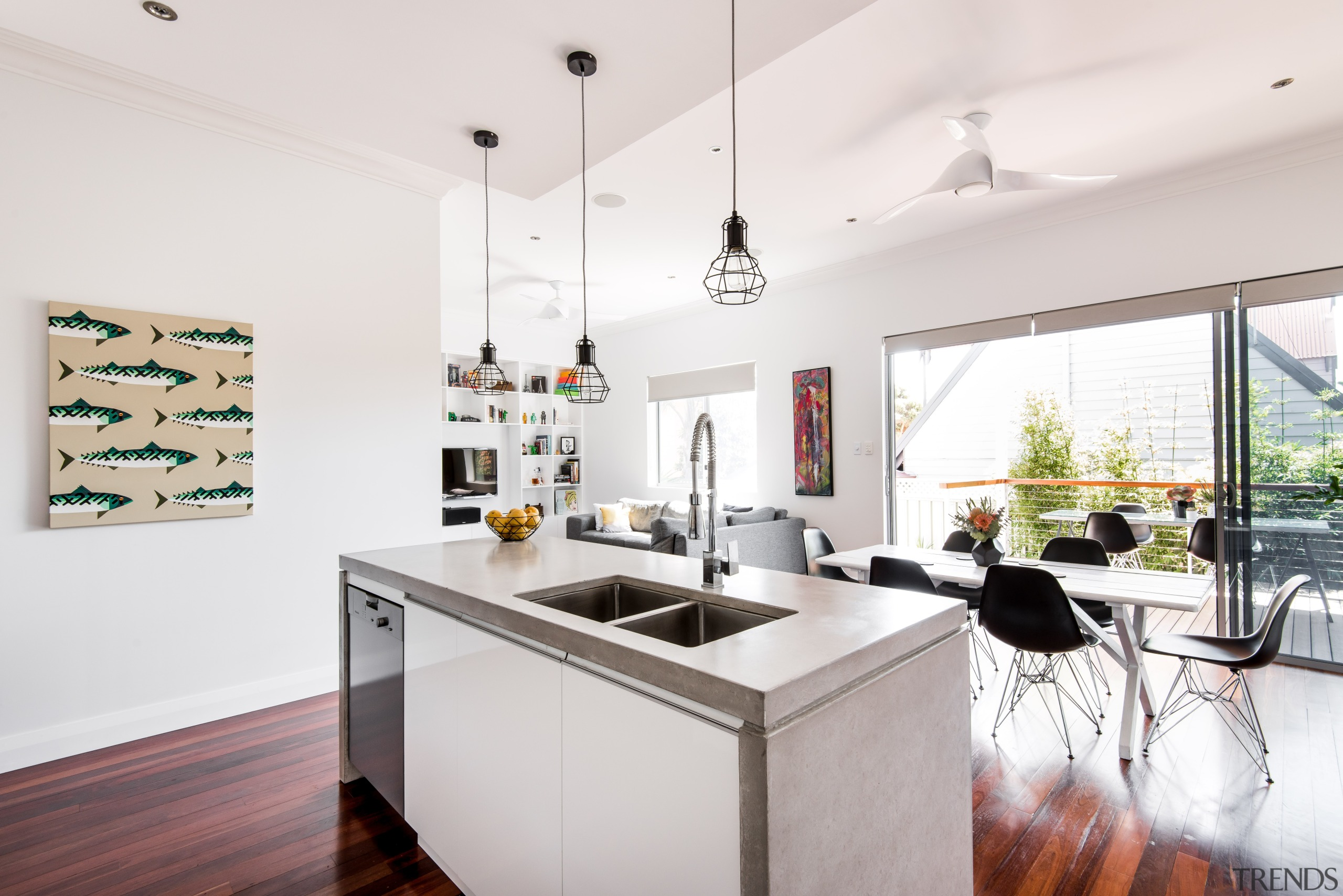 A key element in the re-working of this architecture, black-and-white, building, cabinetry, ceiling, countertop, design, floor, flooring, furniture, home, house, interior design, kitchen, kitchen stove, laminate flooring, material property, property, real estate, room, table, white, wood flooring, white