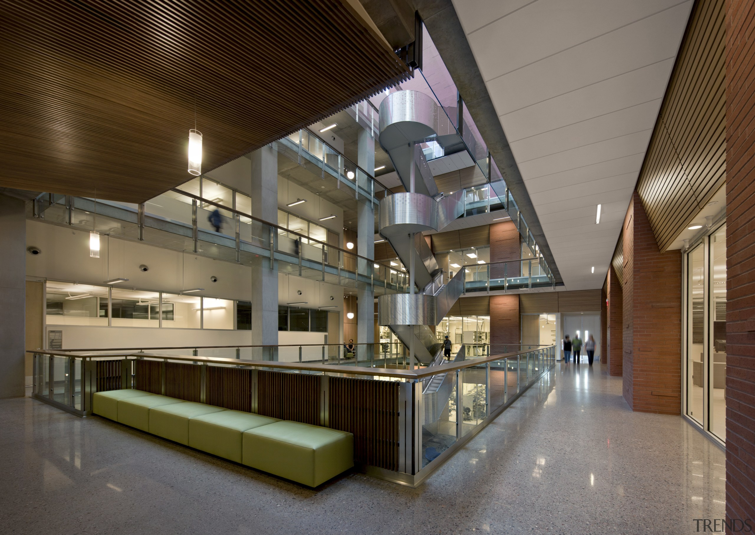 Arizona State University Interdisciplinary Science and Technology Building architecture, ceiling, interior design, lobby, brown, gray
