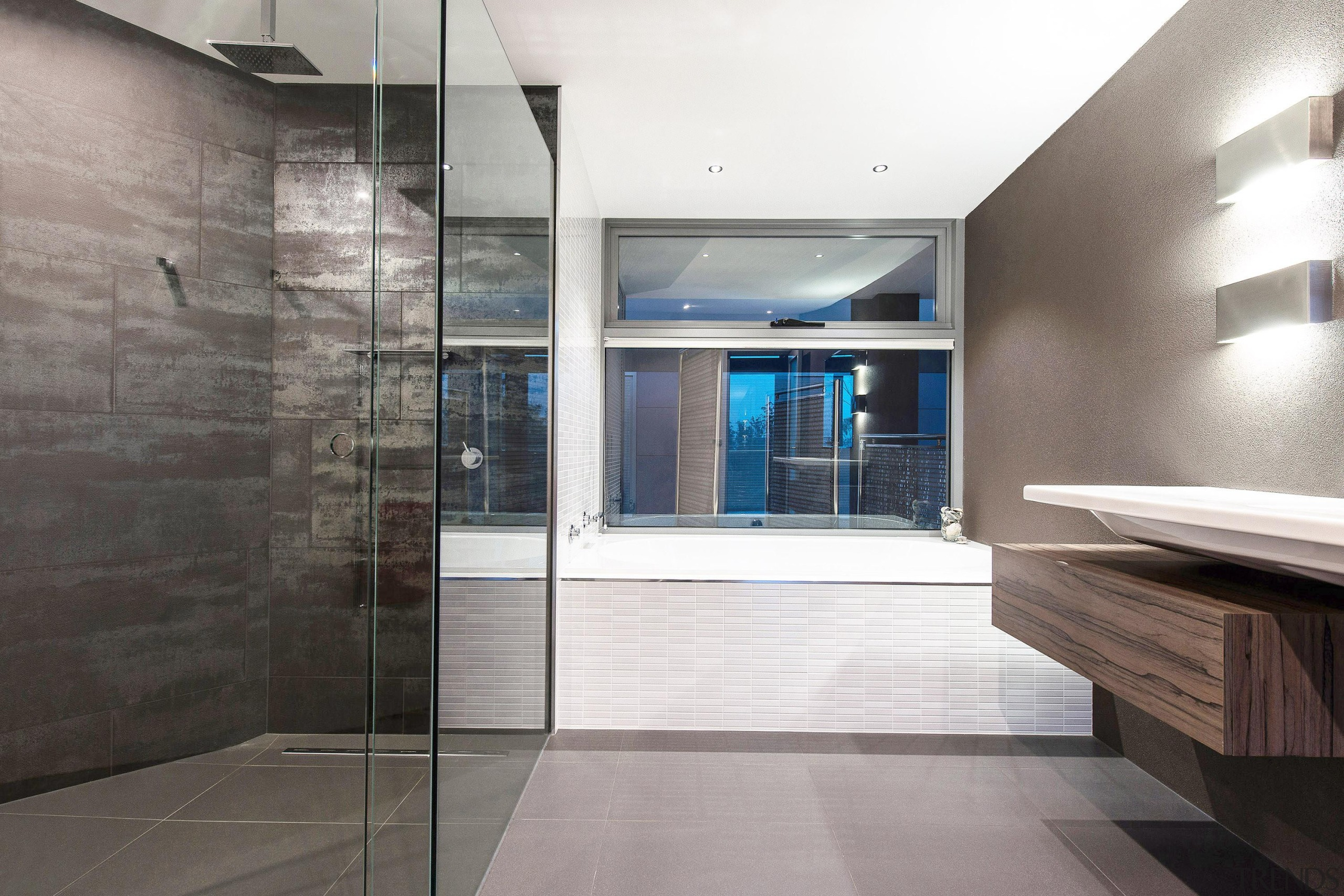 Winner Bathroom Design of the Year 2013 Tasmania architecture, bathroom, daylighting, floor, flooring, glass, house, interior design, lobby, property, real estate, tile, wall, wood flooring, gray, white
