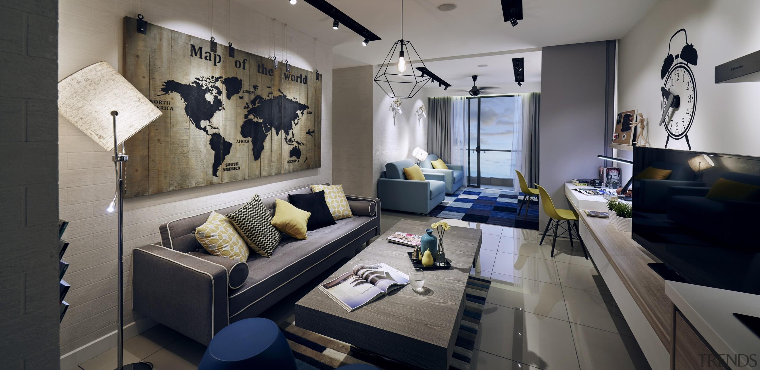 Serviced apartments at Paramount Utropolis feature contemporary, space-saving home, interior design, living room, room, gray, black