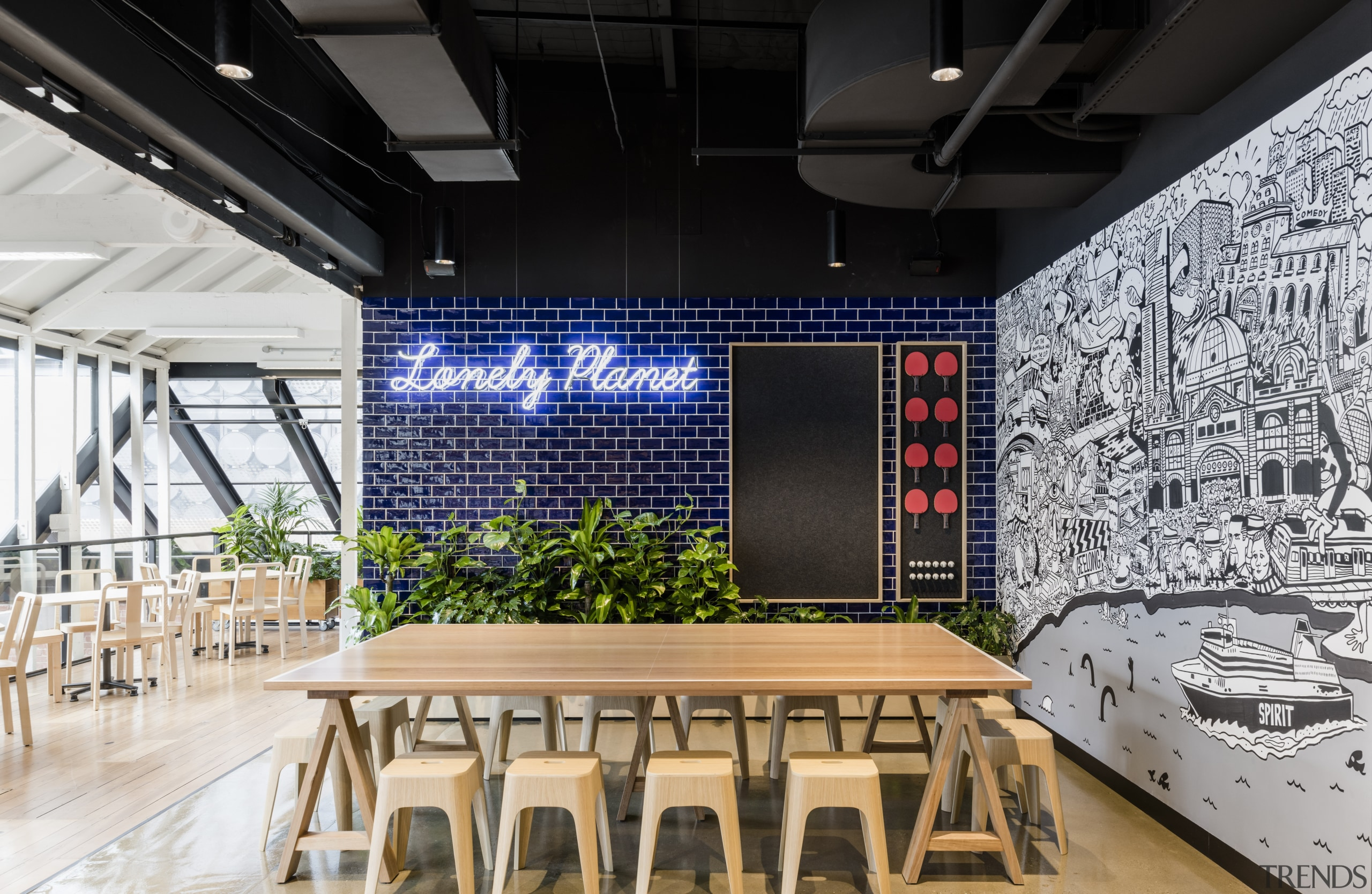 This Lonely Planet staff cafeteria is also a architecture, ceiling, interior design, structure, black, white