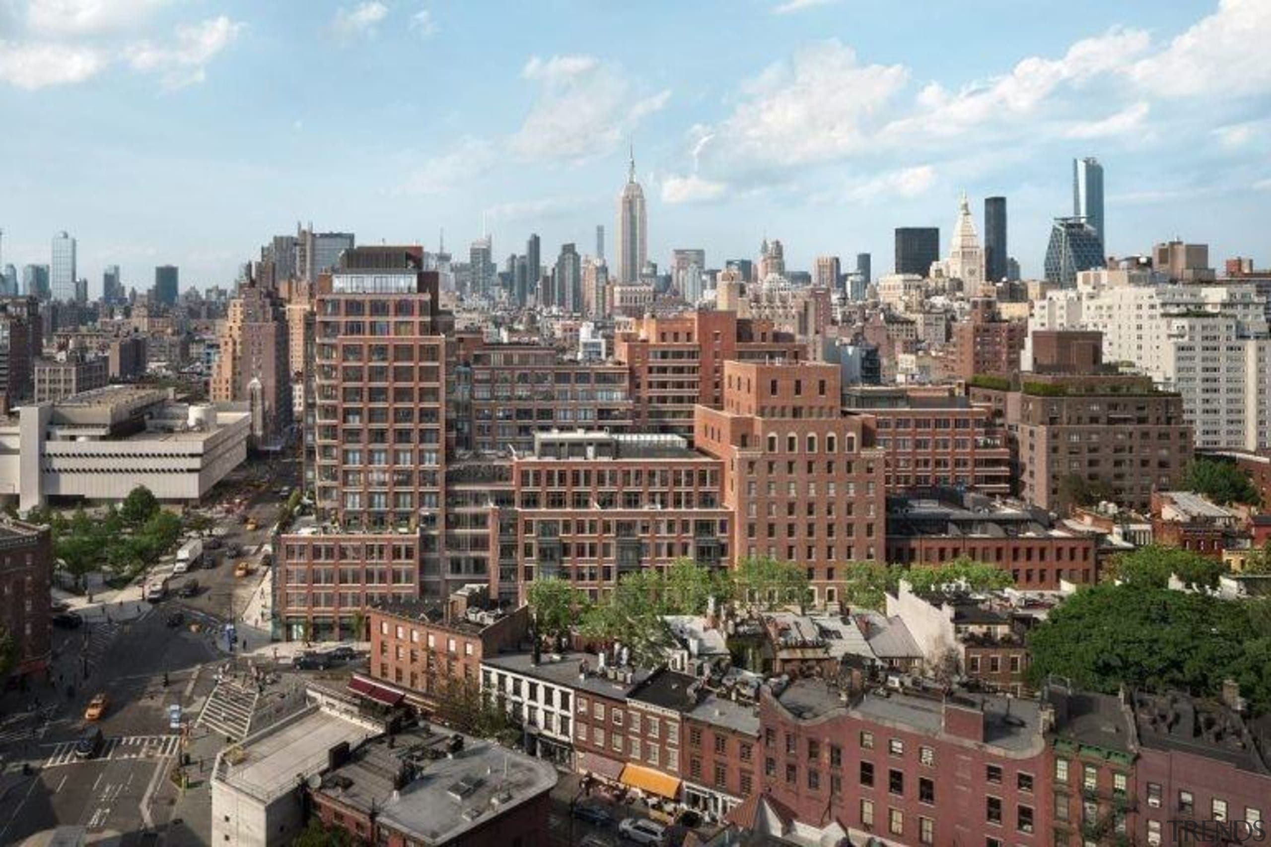 Jon Bon Jovi's new apartment in NYC – aerial photography, bird's eye view, building, city, cityscape, daytime, downtown, metropolis, metropolitan area, neighbourhood, residential area, sky, skyline, skyscraper, suburb, tower block, urban area, white, gray