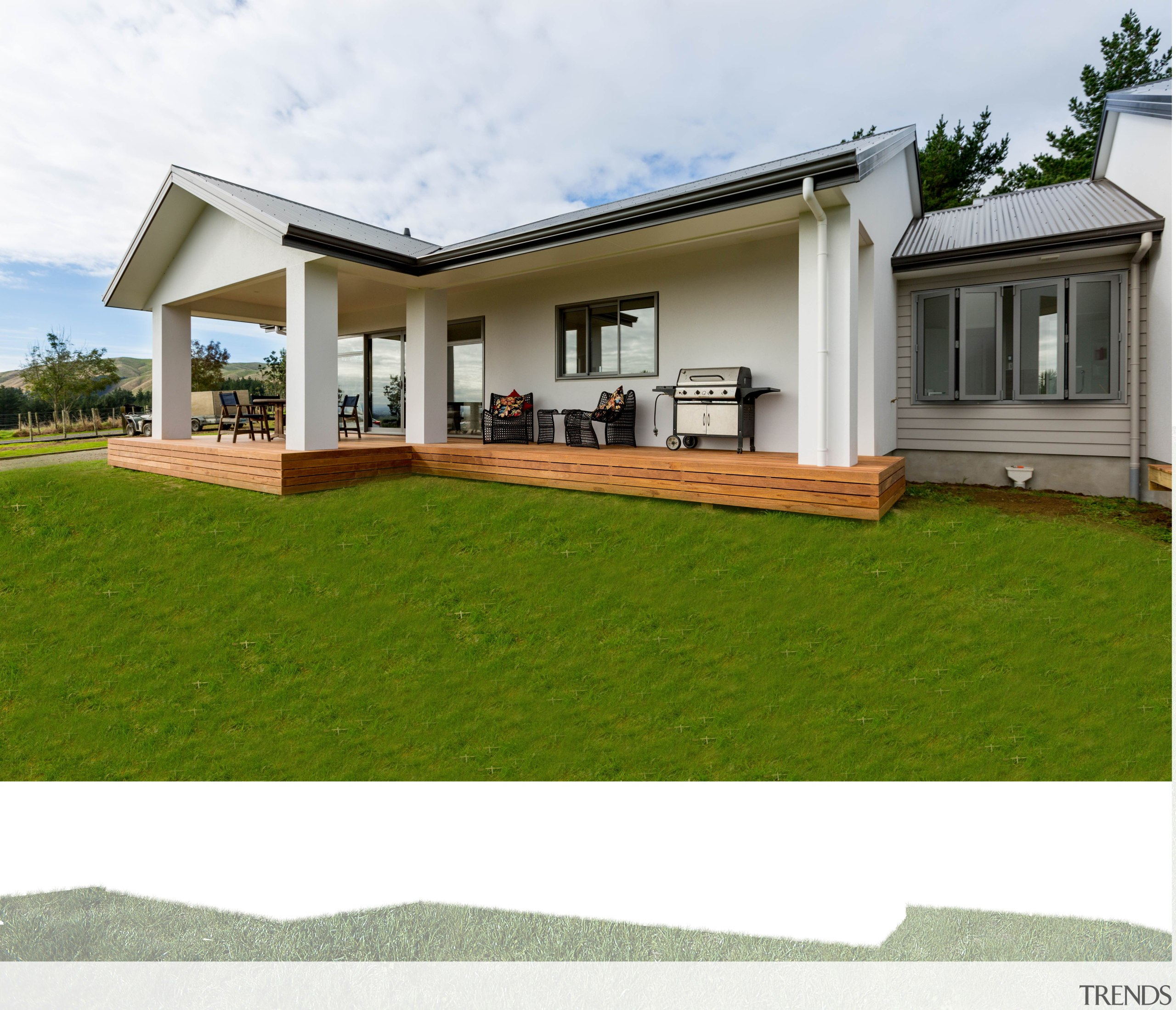 Designed and built by Fowler Homes Manawatu, this architecture, backyard, elevation, estate, facade, grass, home, house, land lot, lawn, property, real estate, residential area, siding, yard, white, brown