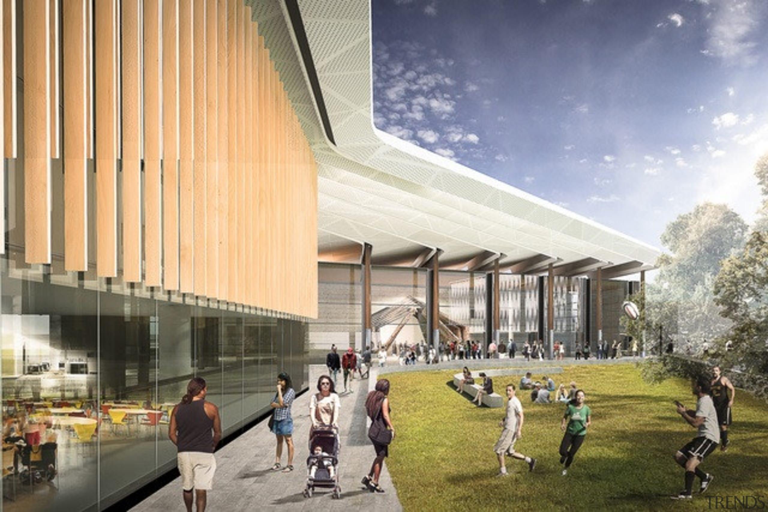 University of Waikato Marae and Multi-Purpose Facility (Hamilton) architecture, building, campus, convention center, corporate headquarters, daytime, metropolitan area, mixed use, structure, urban design