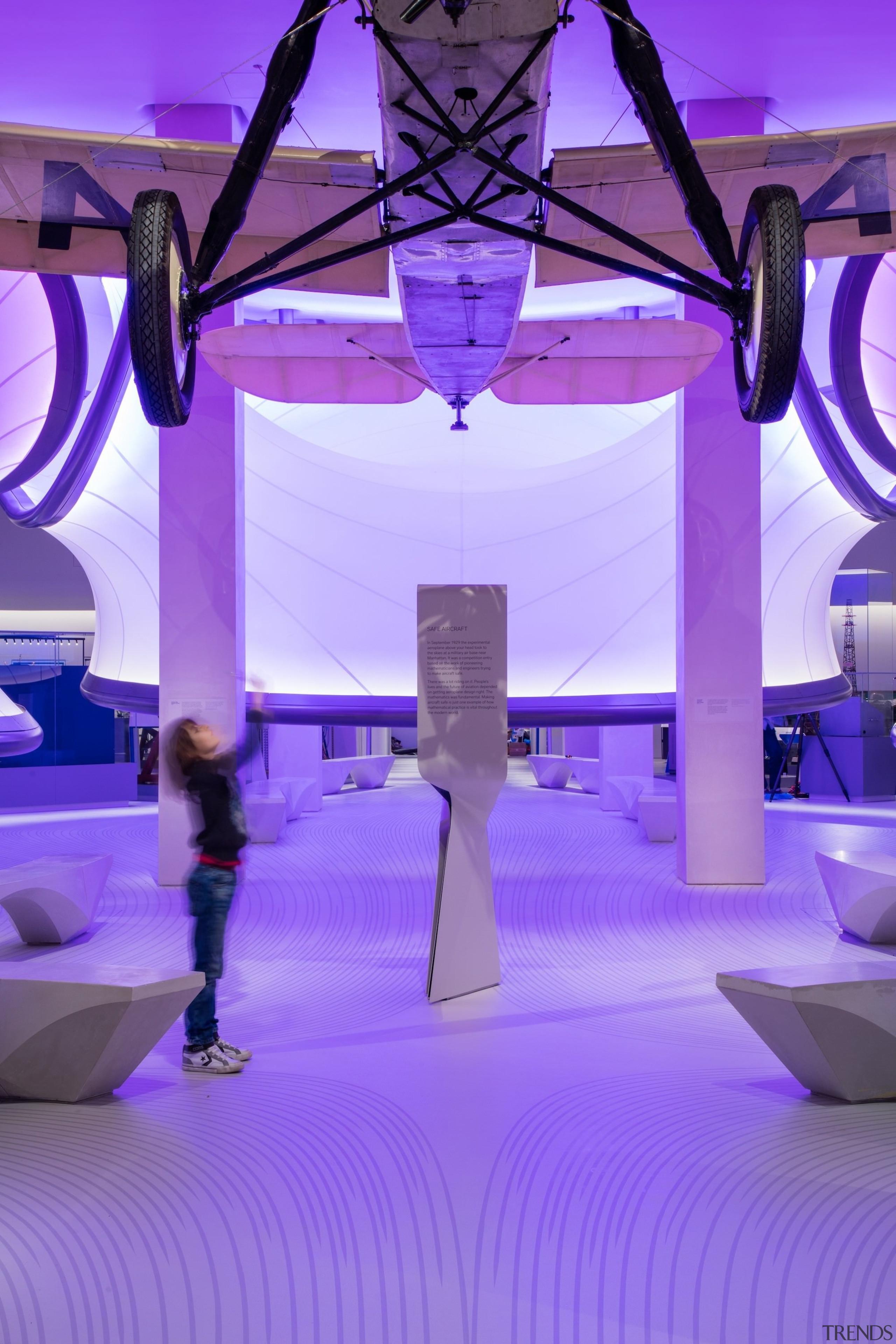 Zaha Hadid – Mathematics: The Winton Gallery – blue, function hall, light, lighting, purple, violet, purple