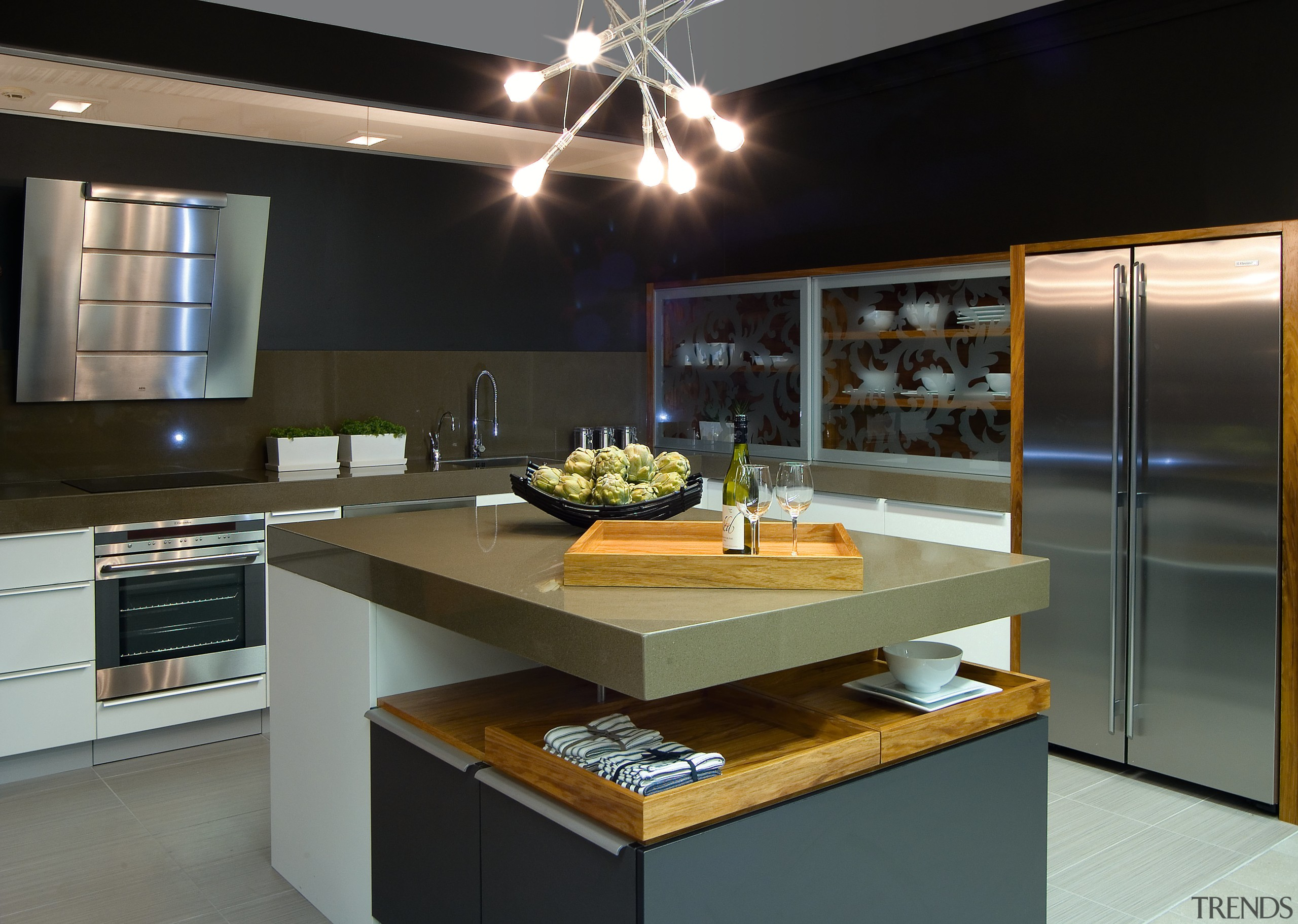 A view of these kitchens designed by Yellowfox countertop, interior design, kitchen, black, gray