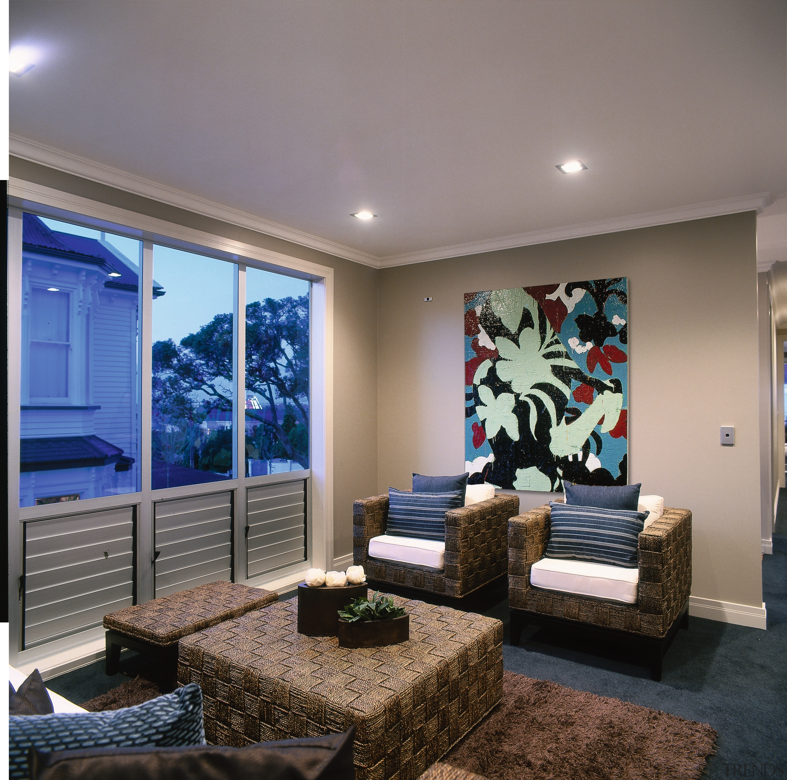 View of this living area - View of ceiling, condominium, home, interior design, living room, real estate, room, wall, window, gray