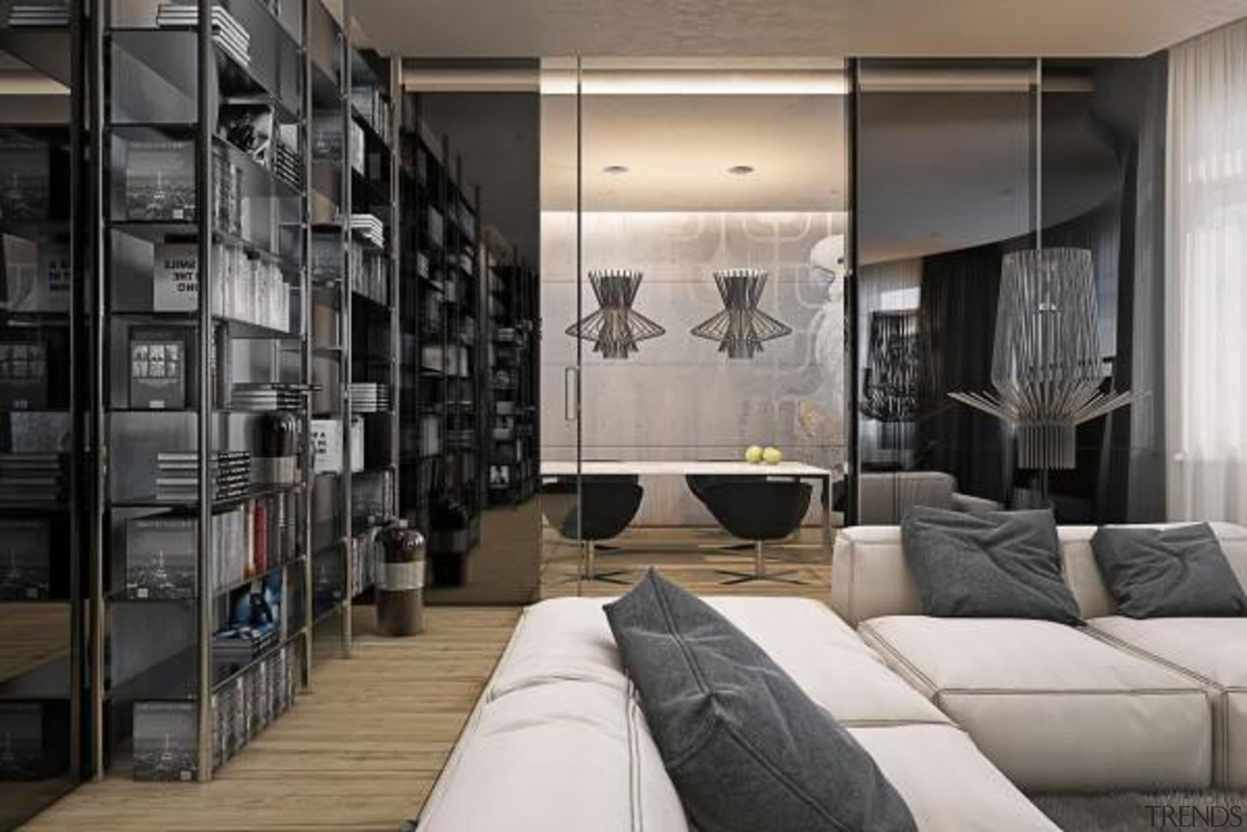 soft cream sofas - Masculine Apartments - furniture furniture, interior design, living room, room, wall, gray, black