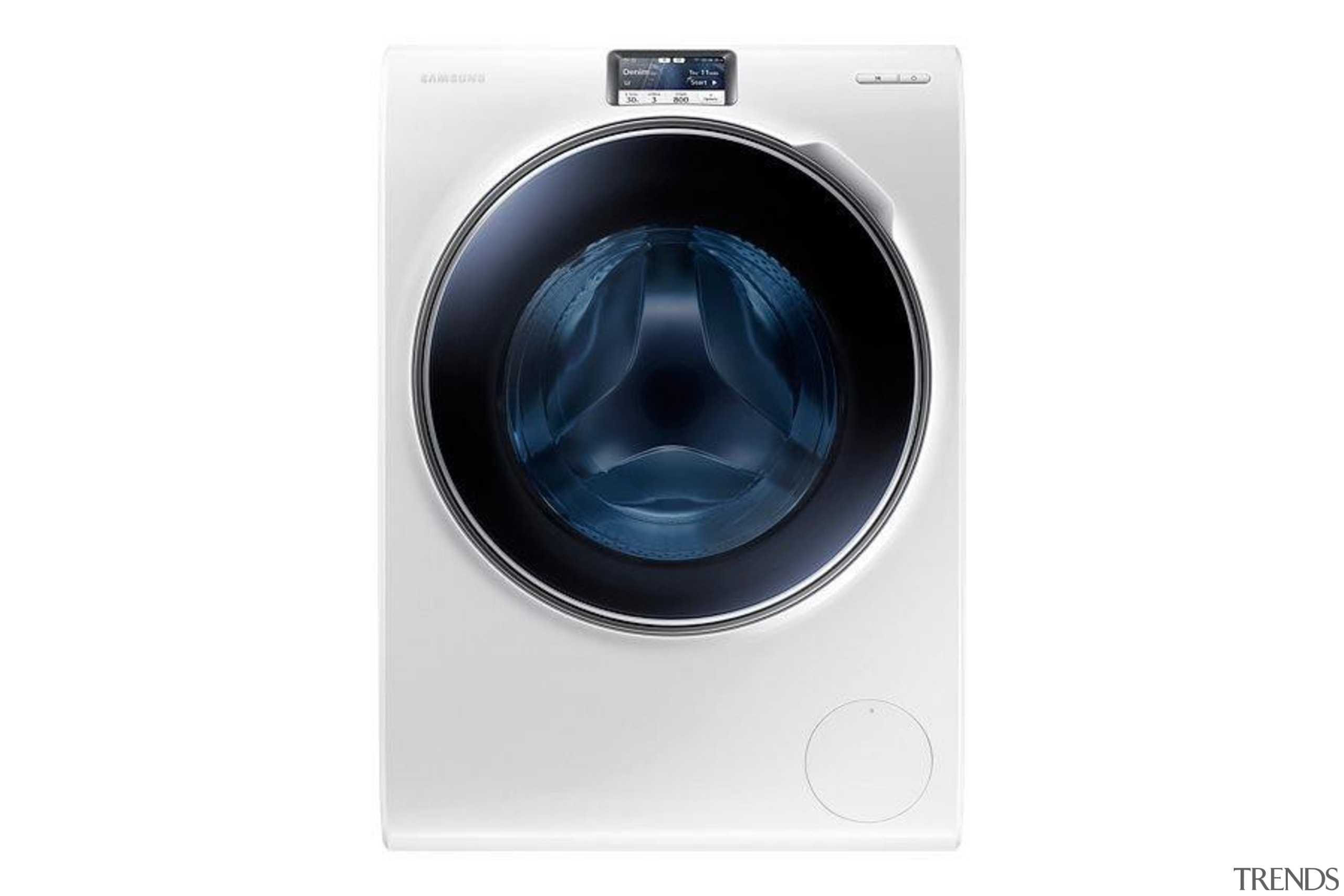 Laundry-Front loader WW90H9600EW/SAWW9000 is a washing machine with clothes dryer, home appliance, major appliance, product, product design, washing machine, white
