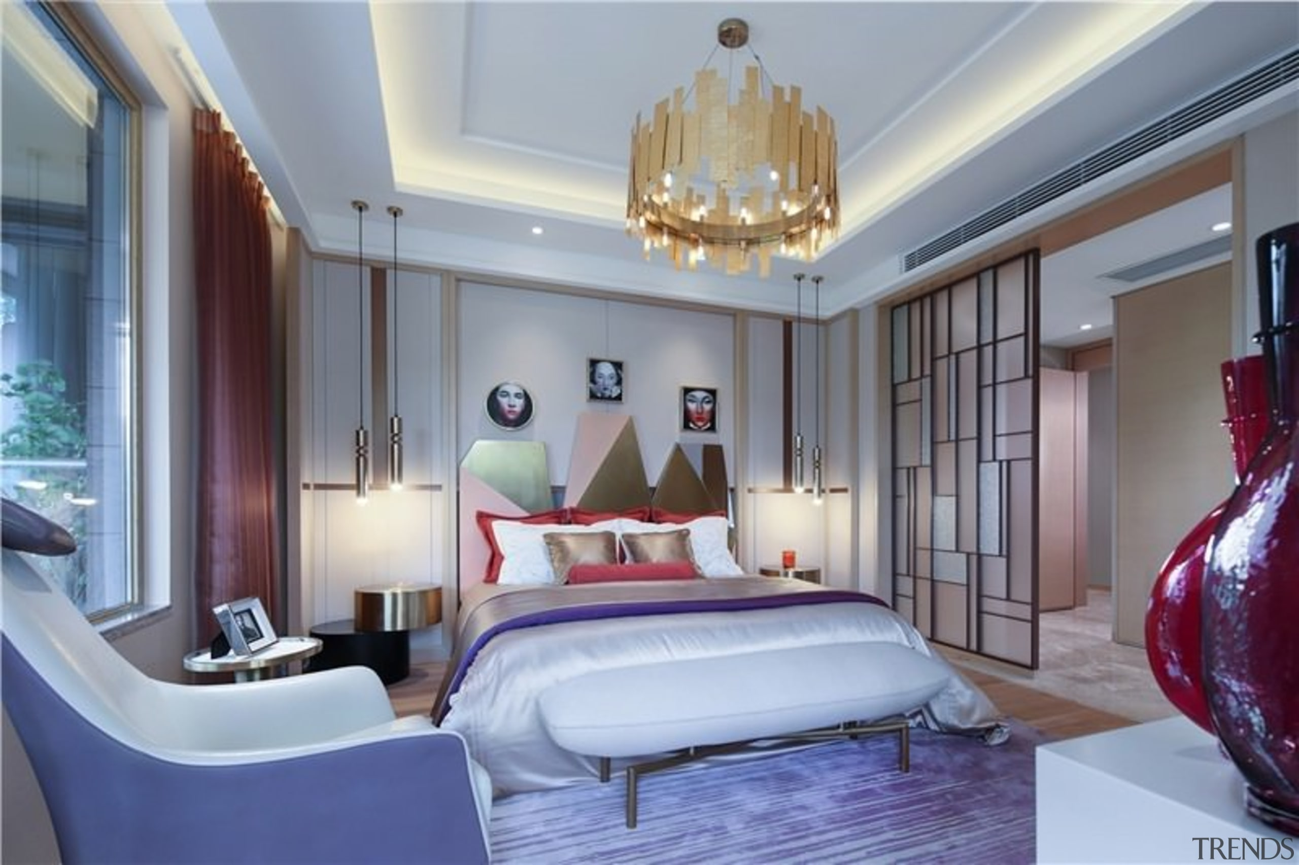 According to the designer, this room represents the bedroom, ceiling, estate, home, interior design, living room, real estate, room, suite, wall, gray