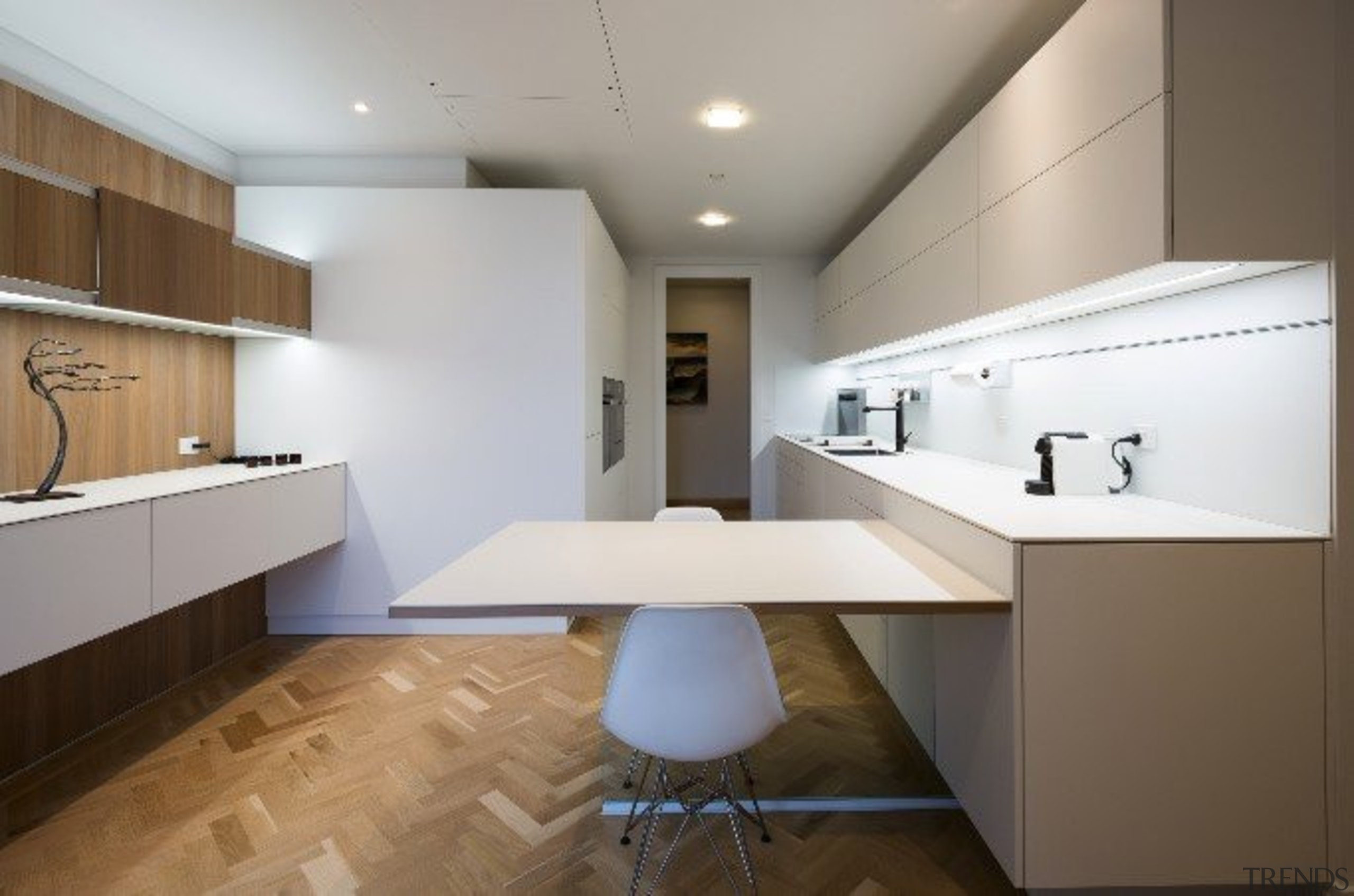 Highly Commended in the Category Imported Kitchen - architecture, cabinetry, ceiling, countertop, daylighting, floor, flooring, home, interior design, interior designer, kitchen, product design, real estate, room, sink, gray, brown