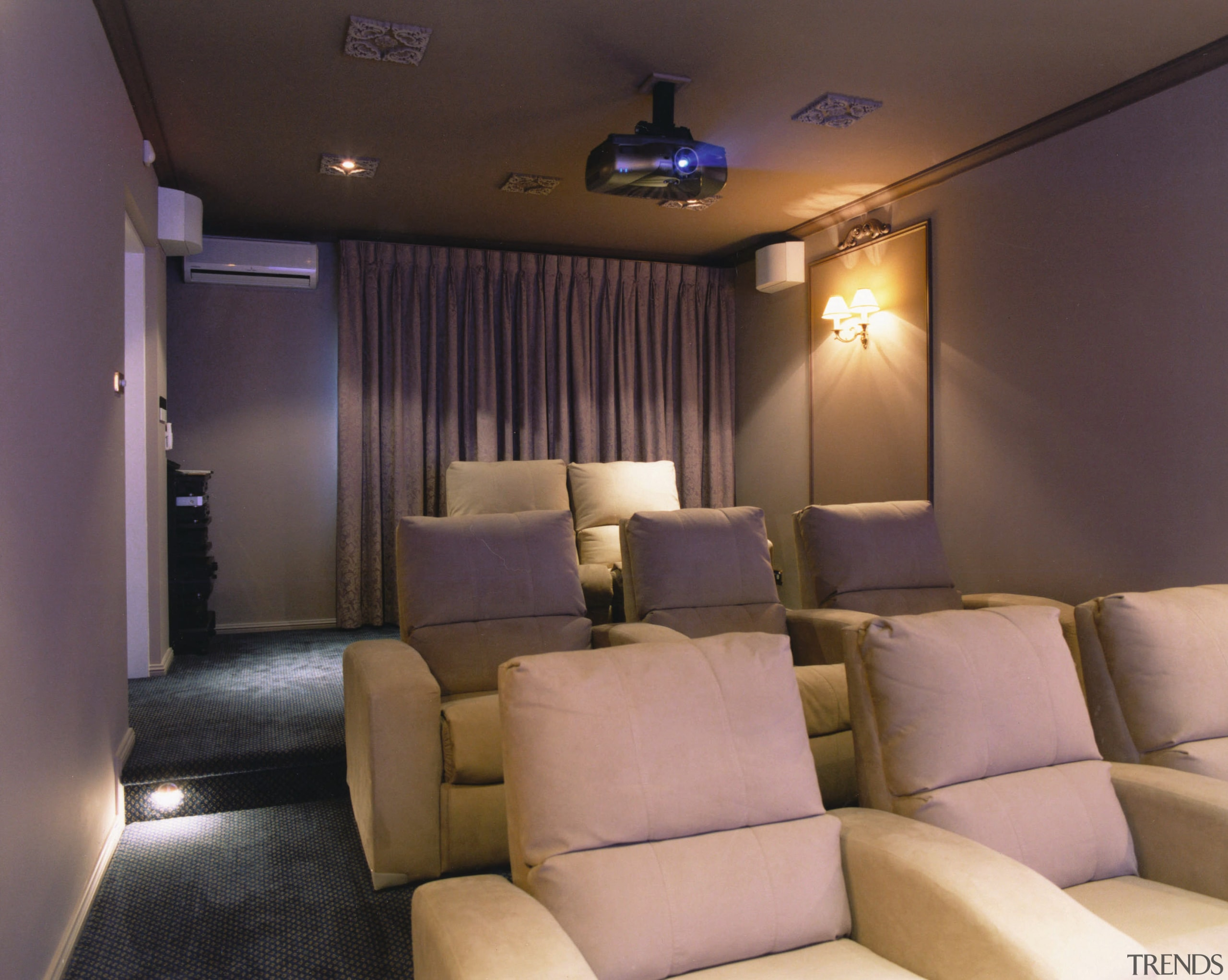 View of a home theatre, many cream seats, ceiling, interior design, room, black