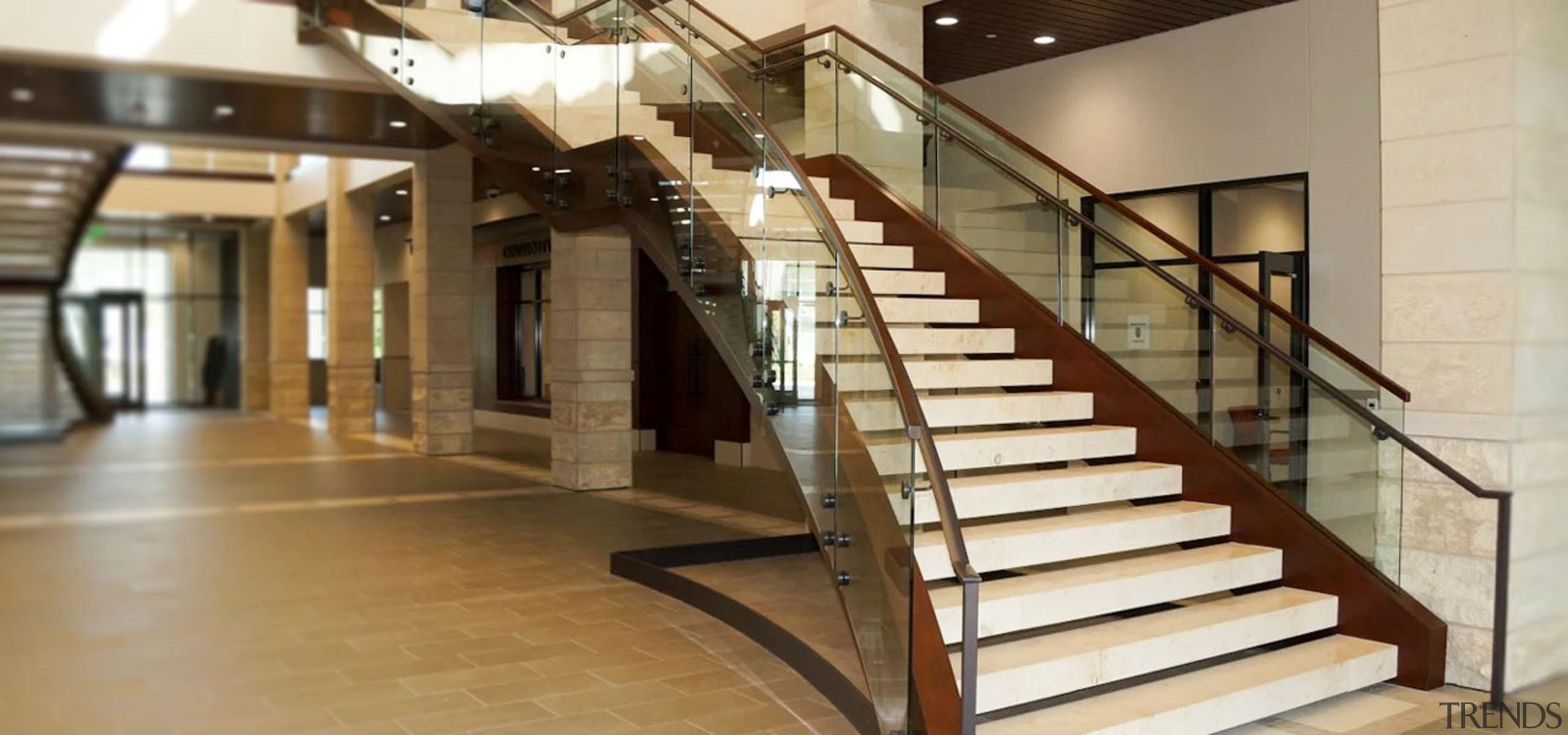 Herriman 2 - architecture | building | floor architecture, building, floor, flooring, handrail, interior design, lobby, property, stairs, brown, orange