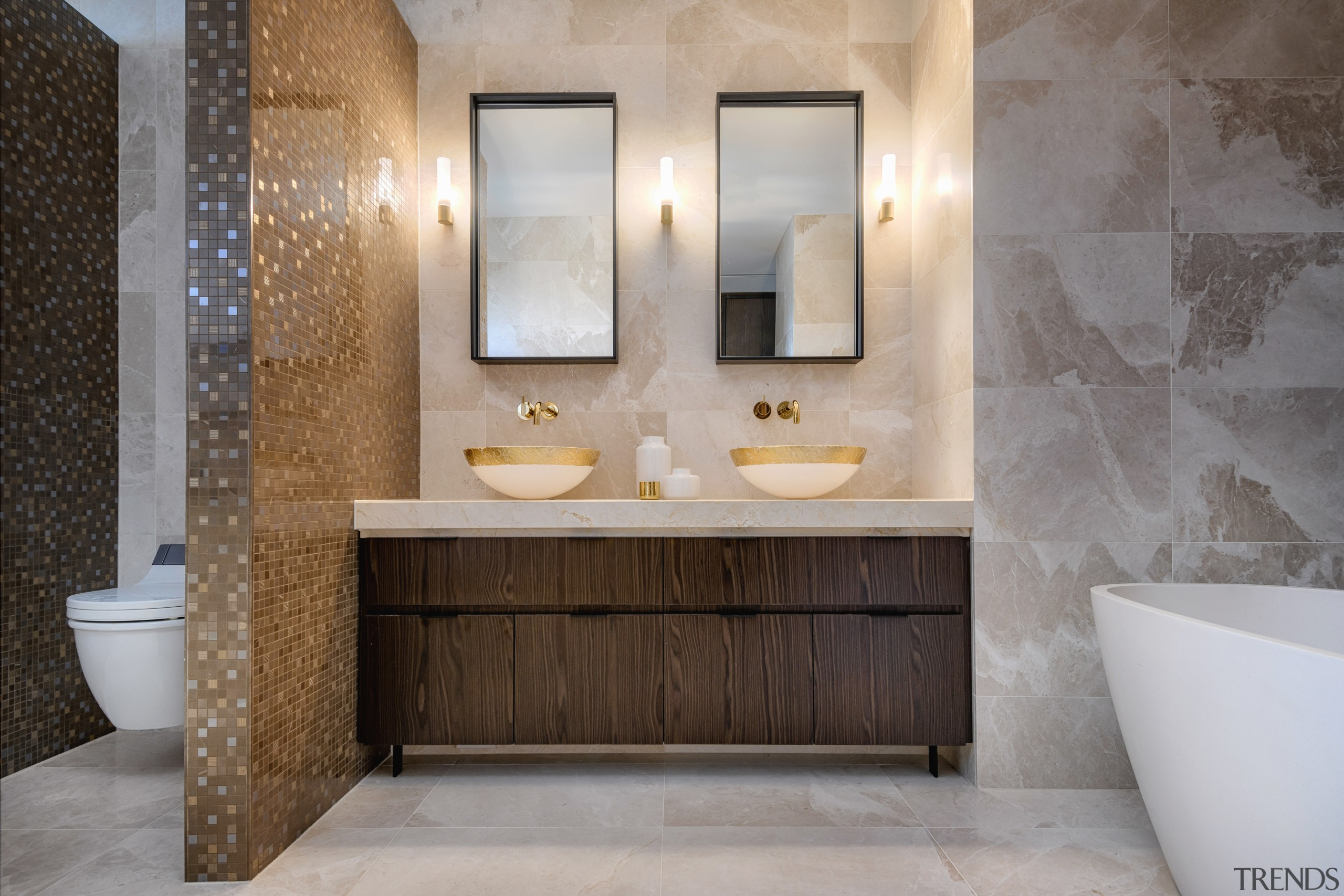 ​​​​​​​This master ensuite by designer Davinia Sutton offers architecture, bathroom, master ensuite, bathroom cabinet, Davinia Sutton, Marble floor, wall tiles