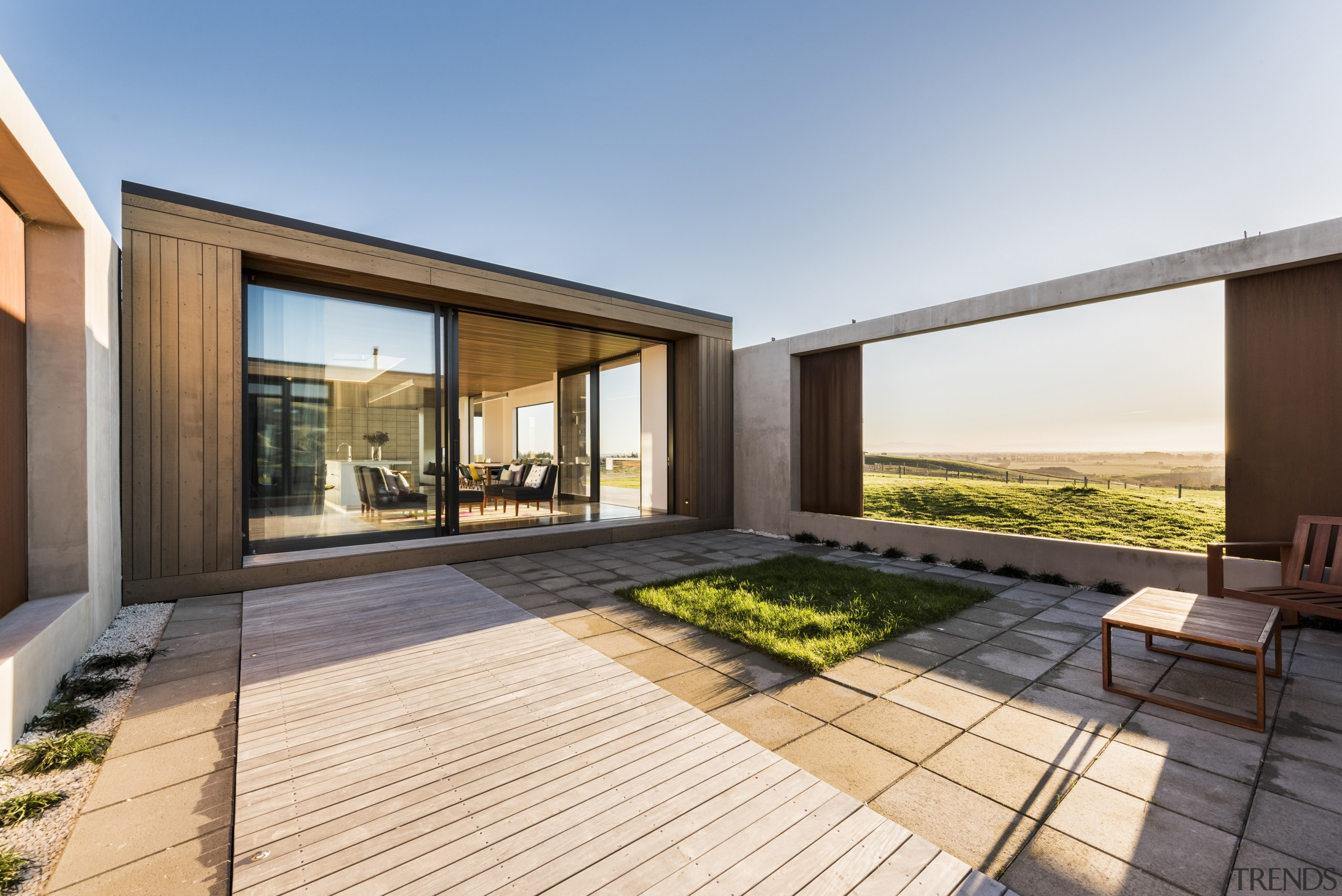 This courtyard in a new rural home can apartment, architecture, estate, home, house, interior design, property, real estate, residential area, window, white